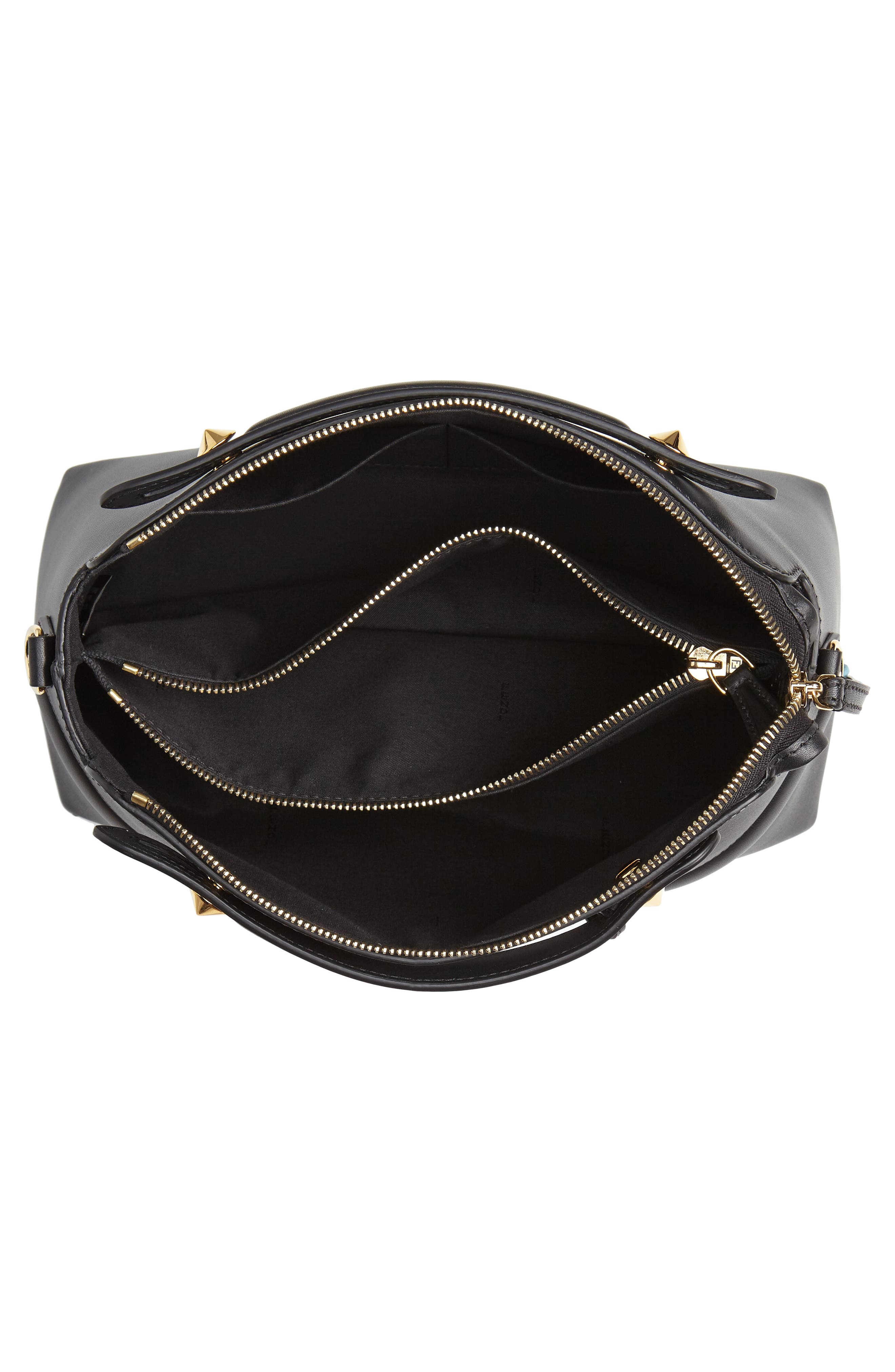 By the Way - Wonders Convertible Leather Shoulder Bag,                             Alternate thumbnail 4, color,                             NERO/ ORO SOFT