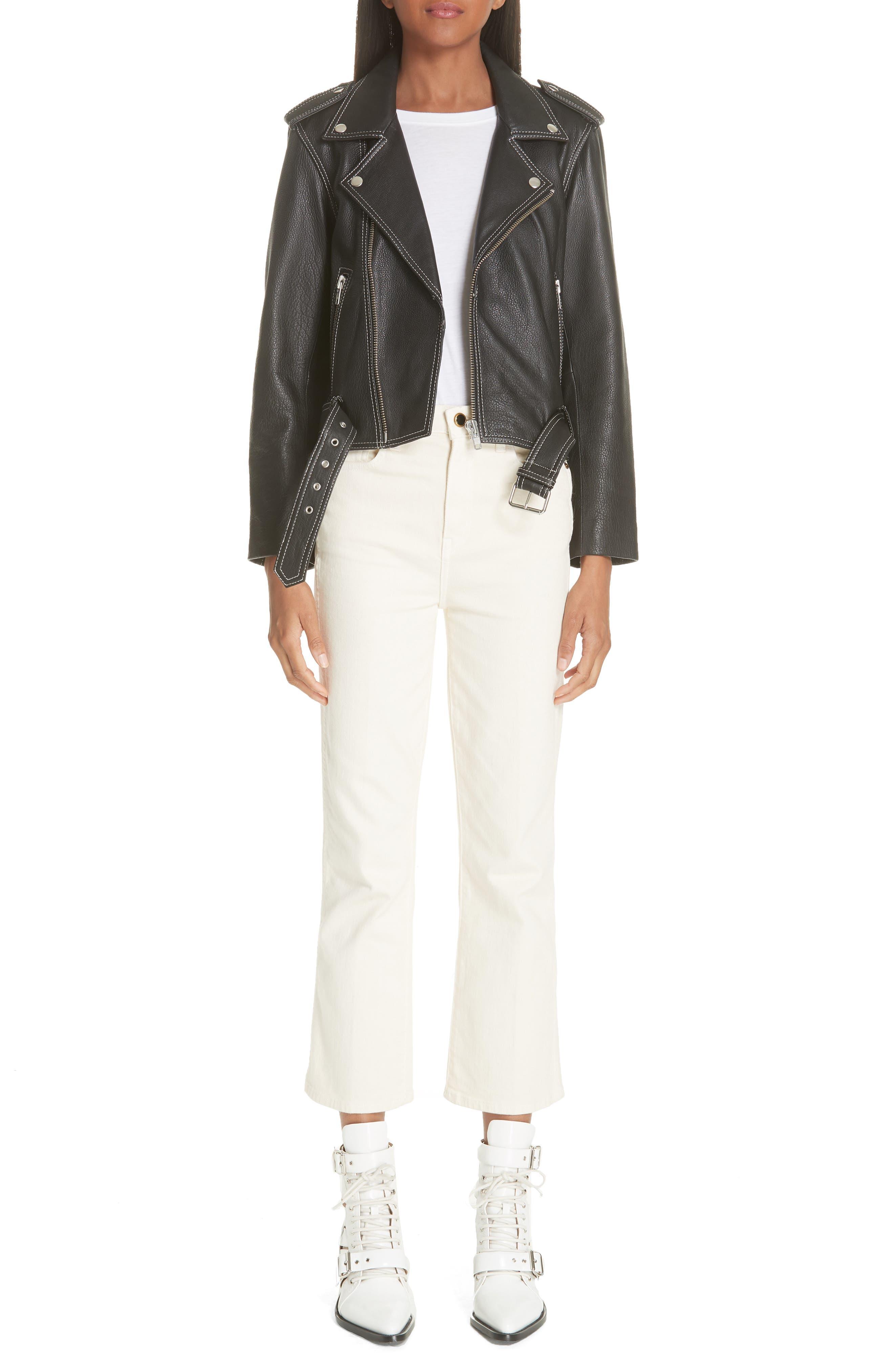 GANNI,                             Angela Leather Jacket,                             Alternate thumbnail 7, color,                             099