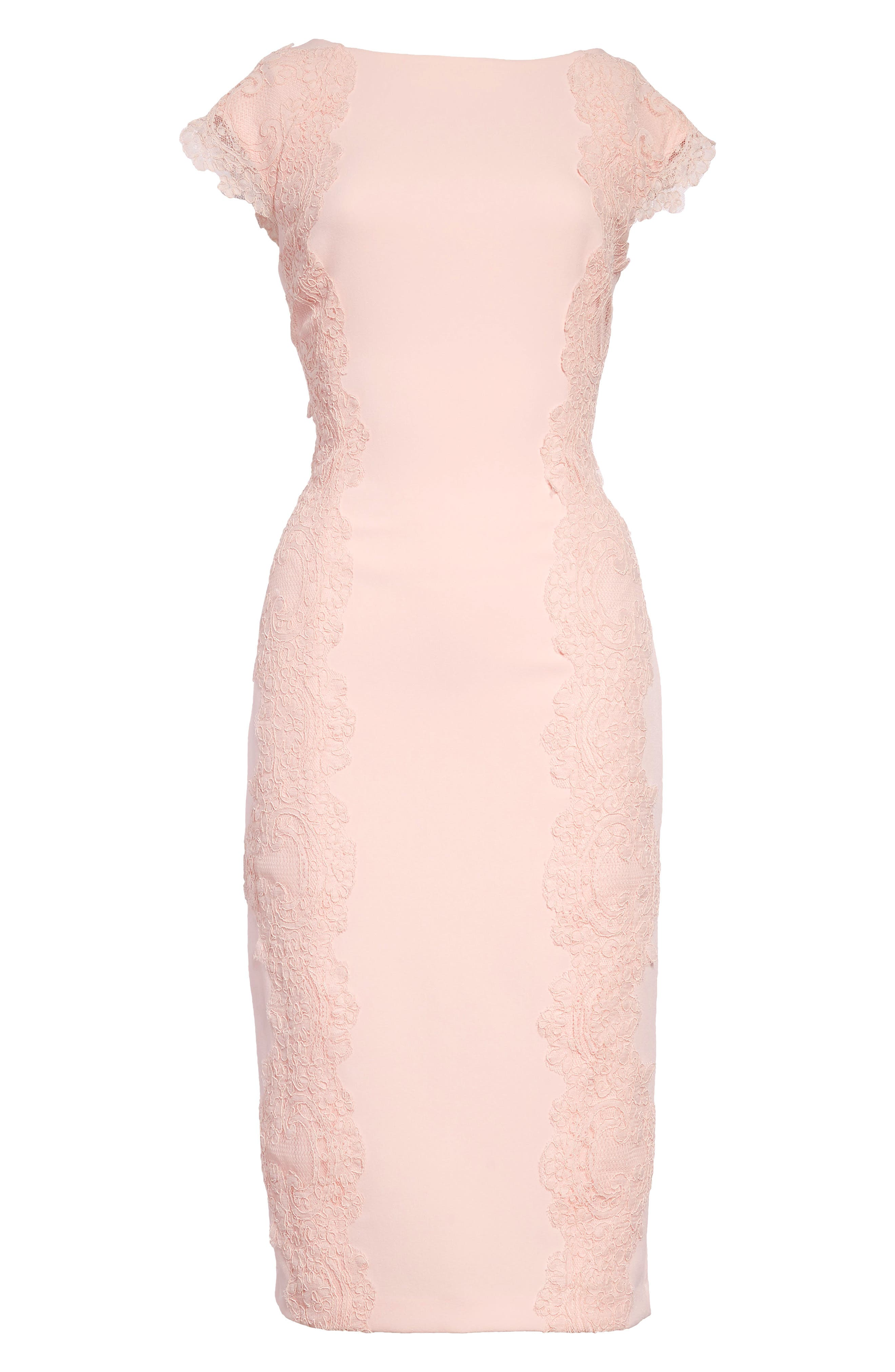 Lace Detail Crepe Sheath Dress,                             Alternate thumbnail 7, color,                             BLUSH