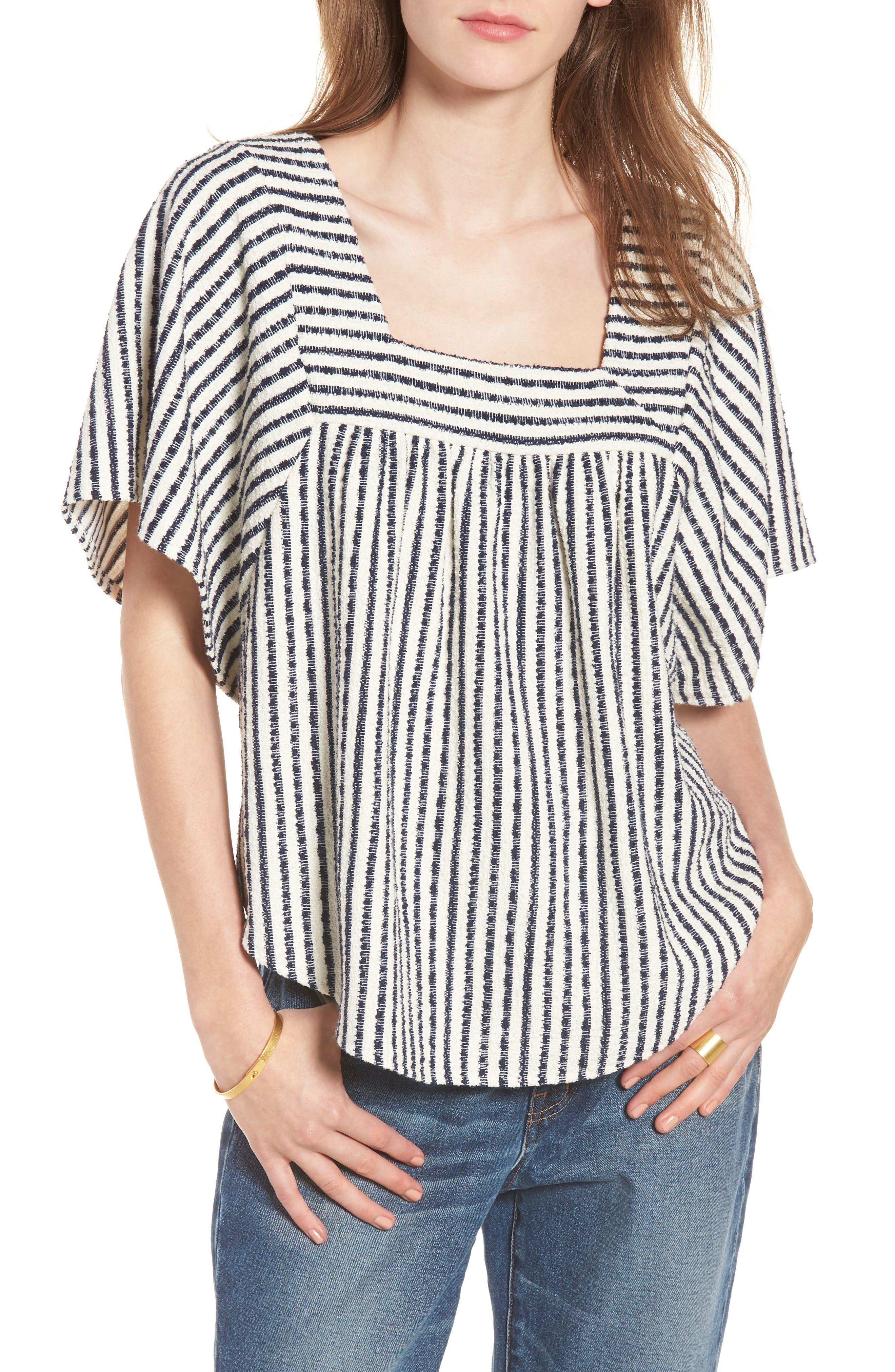 Stripe Butterfly Top,                             Main thumbnail 1, color,                             BRIGHT IVORY