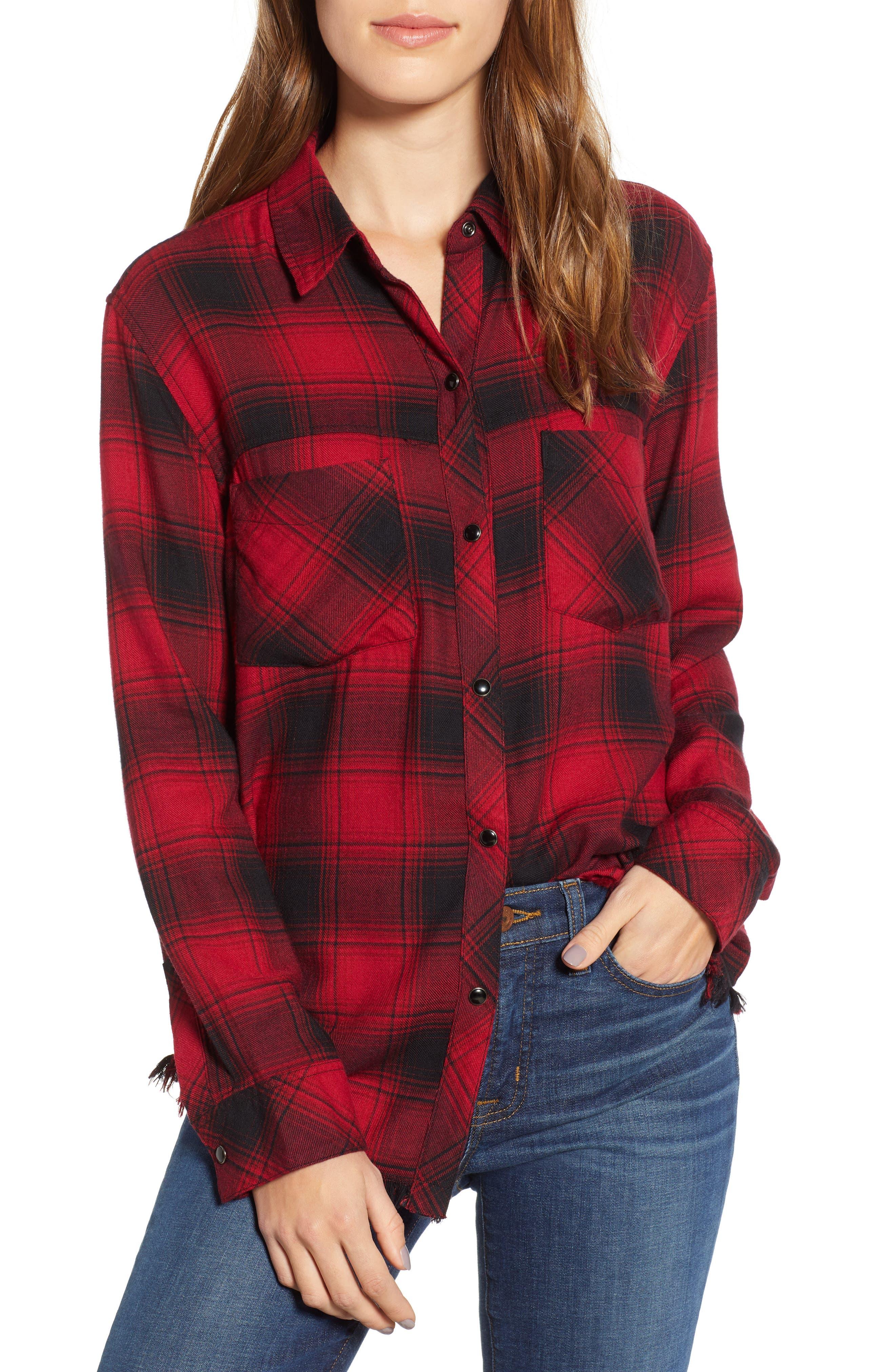 Rails Leo Plaid Flannel Shirt, Black