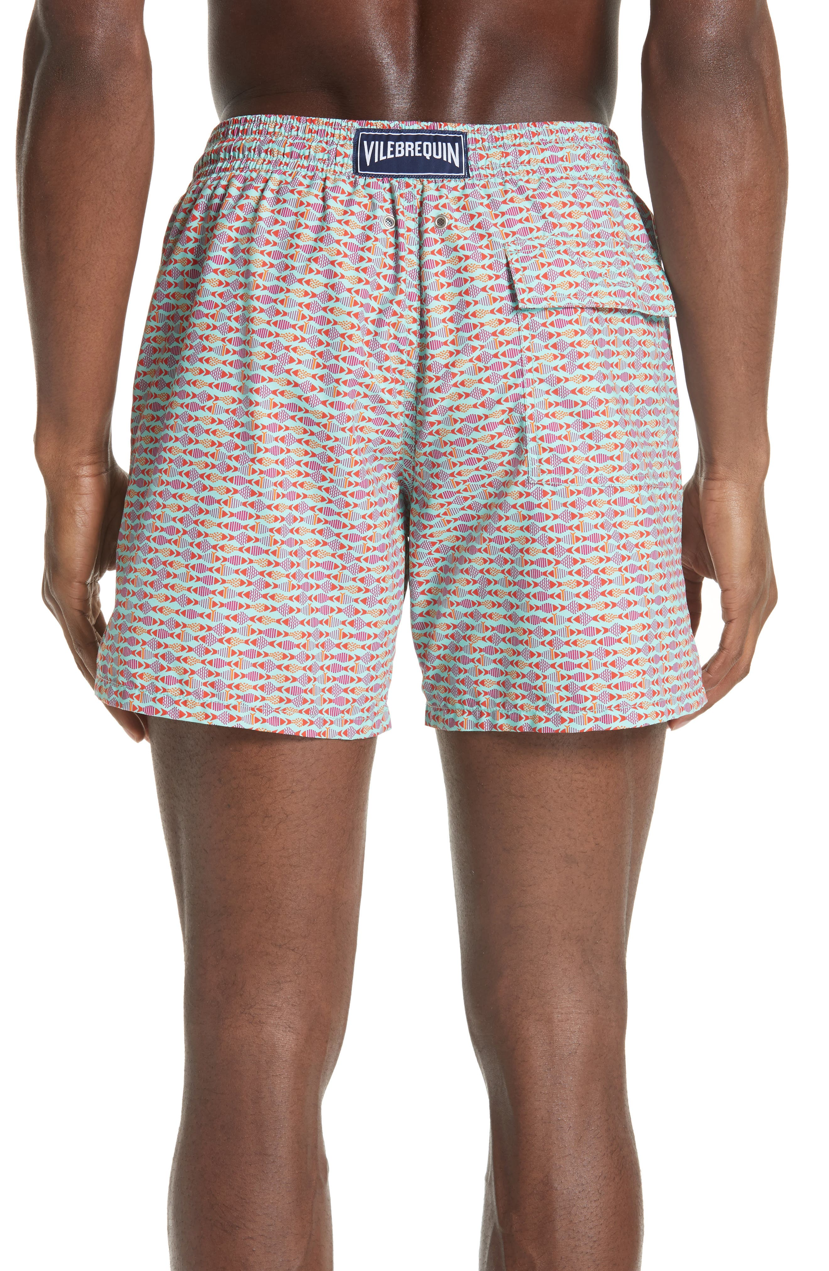 Modernist Fish Print Swim Trunks,                             Alternate thumbnail 2, color,                             LAGOON