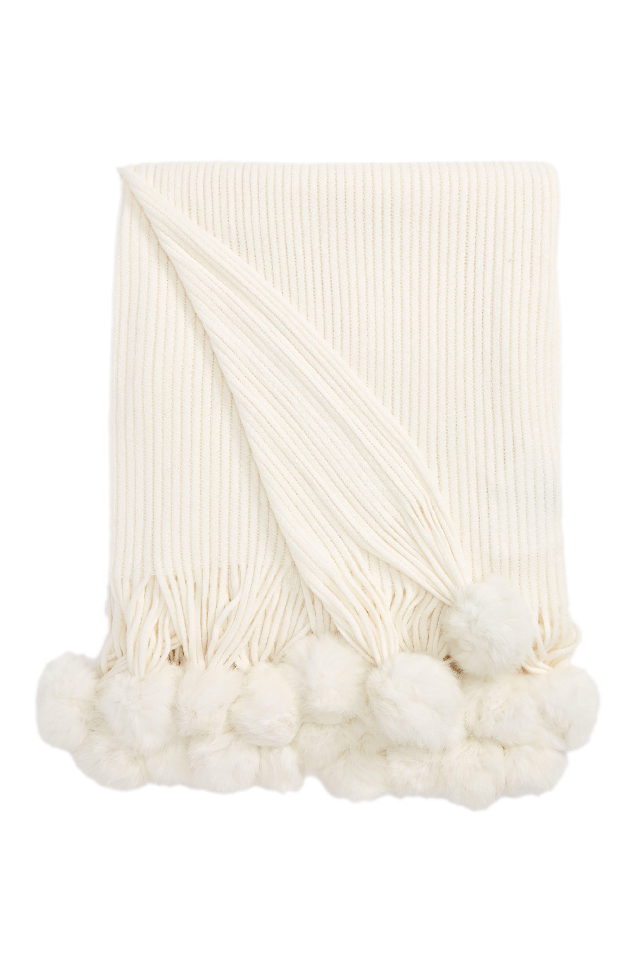Genuine Rabbit Fur Pompom Rib Knit Throw,                             Main thumbnail 5, color,