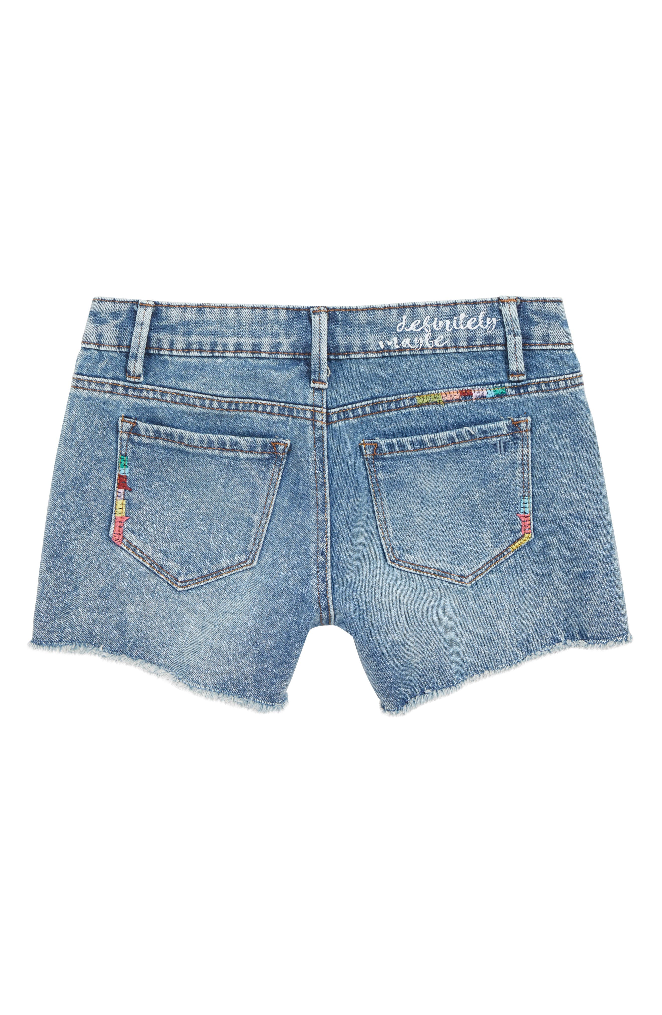 TRACTR,                             Brittany Embroidered Cutoff Denim Shorts,                             Alternate thumbnail 2, color,                             LIGHT INDIGO