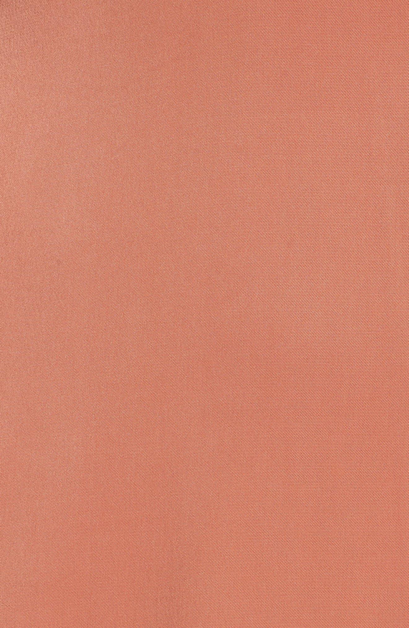 Lea Plunge Neck Midi Dress,                             Alternate thumbnail 5, color,                             TERRACOTTA