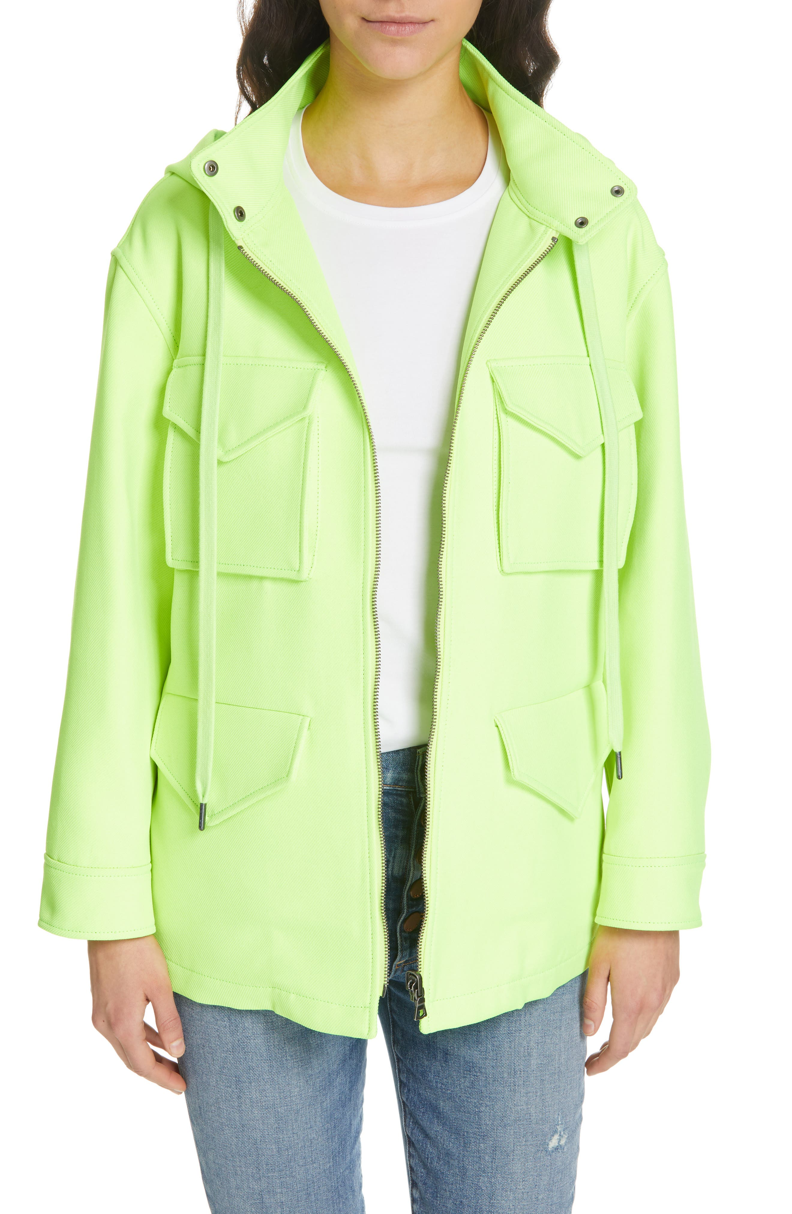 ALICE + OLIVIA Russo Hooded Jacket, Main, color, NEON YELLOW