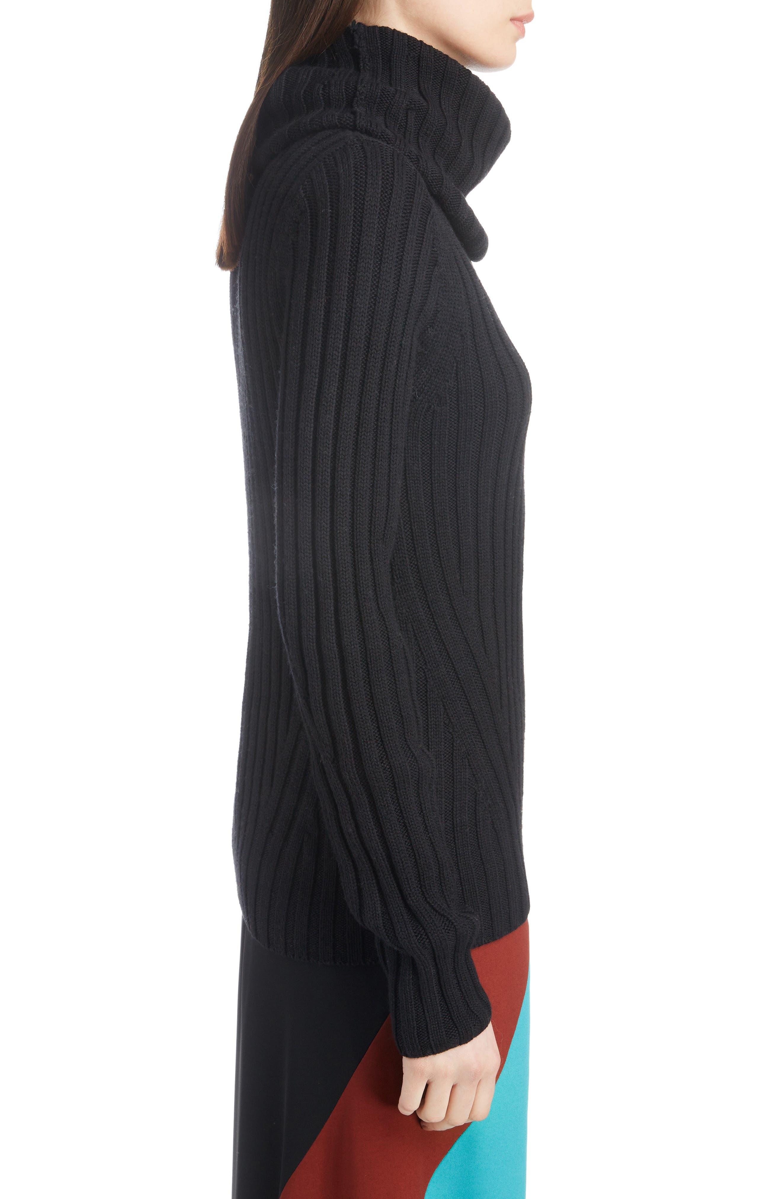 DRIES VAN NOTEN,                             Turtleneck Wool Sweater,                             Alternate thumbnail 3, color,                             BLACK