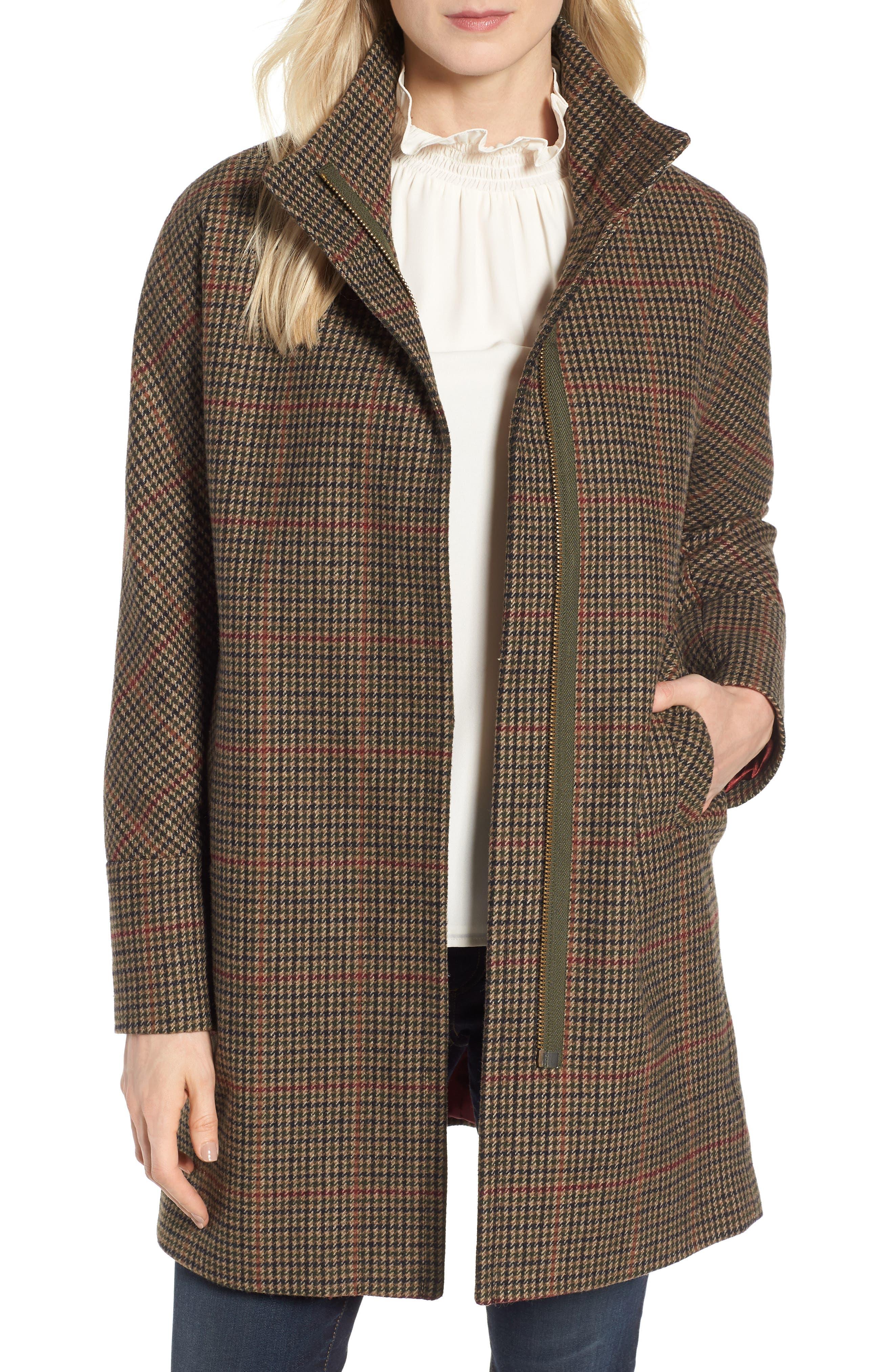 Plaid Topper Coat,                             Main thumbnail 1, color,                             MULTI