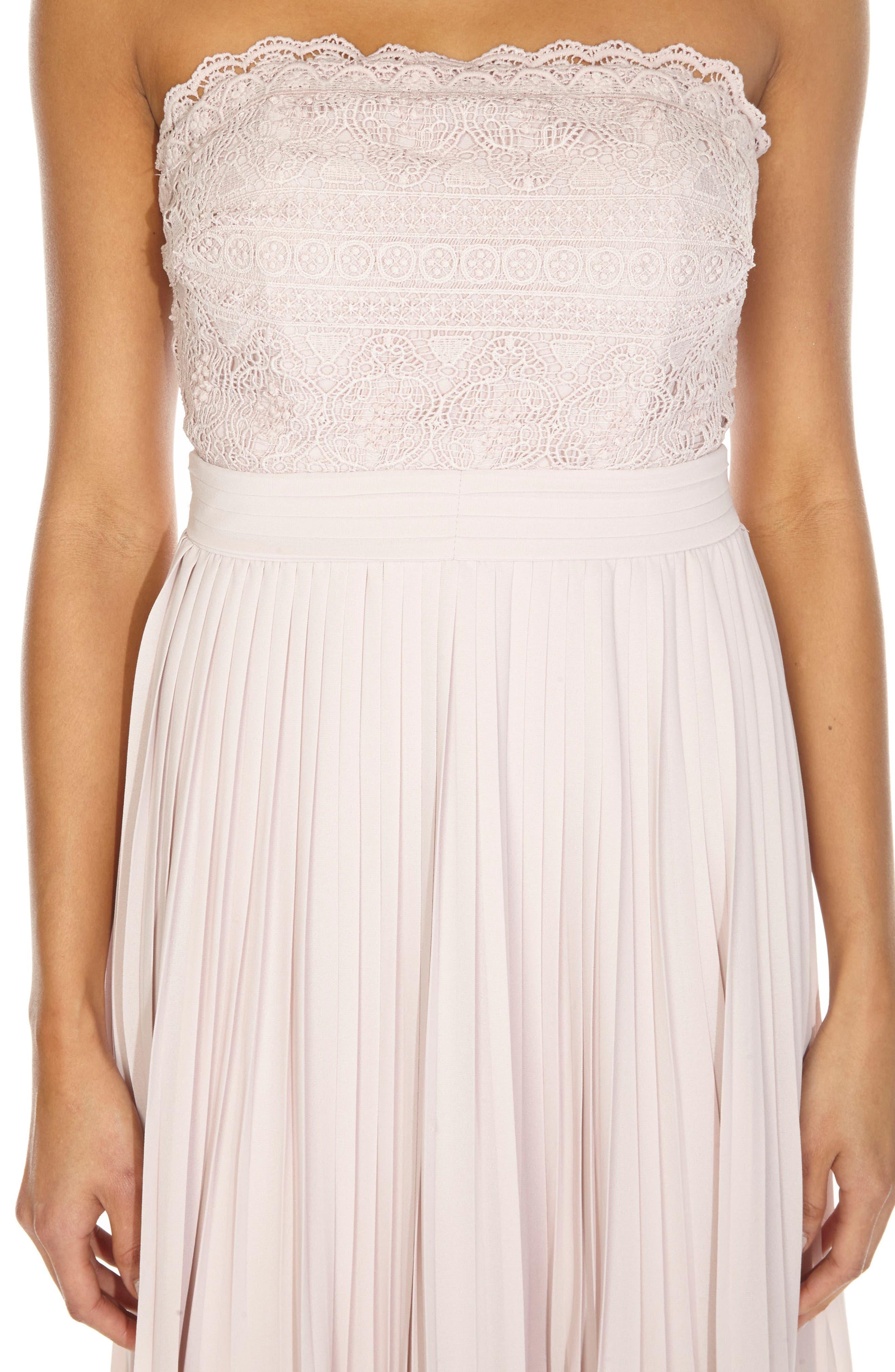 Kara Pleated Strapless Dress,                             Alternate thumbnail 3, color,                             MINK