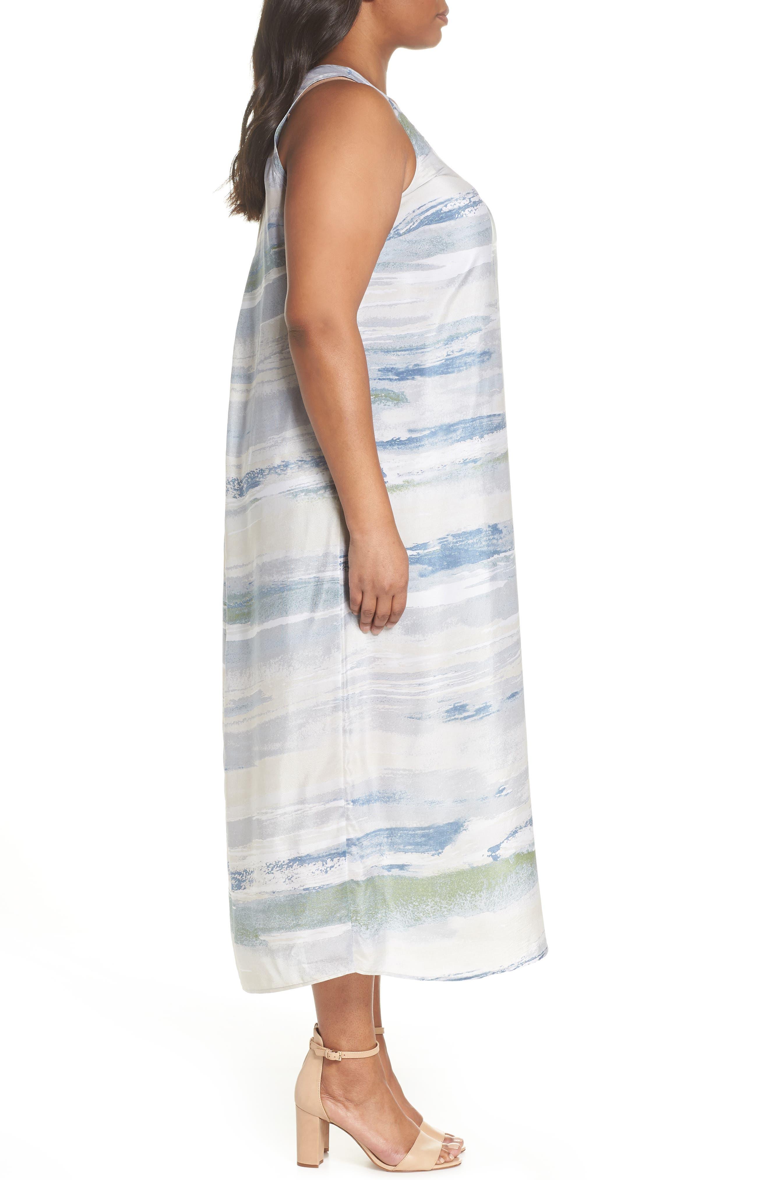 Watercolor Silk Blend Sleeveless Dress,                             Alternate thumbnail 3, color,