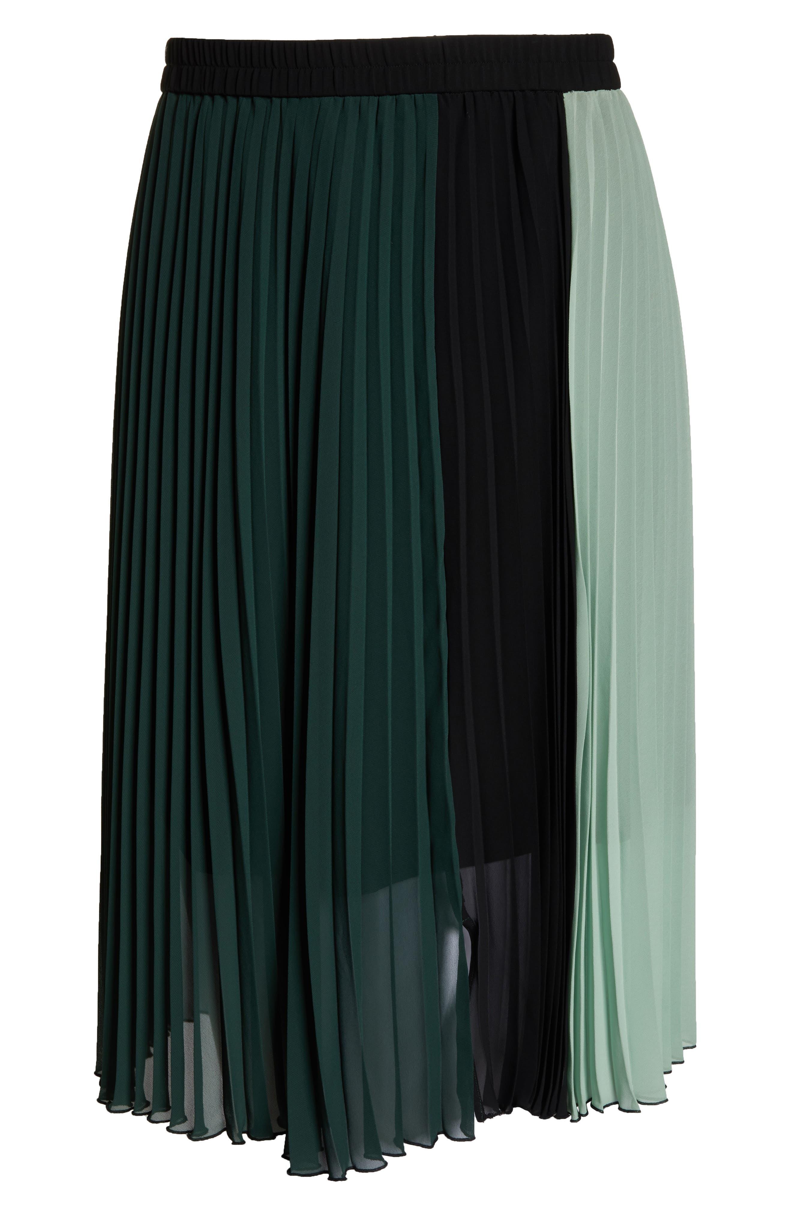 x Atlantic-Pacific Colorblock Pleated Midi Skirt,                             Alternate thumbnail 6, color,                             GREEN- BLACK COLORBLOCK