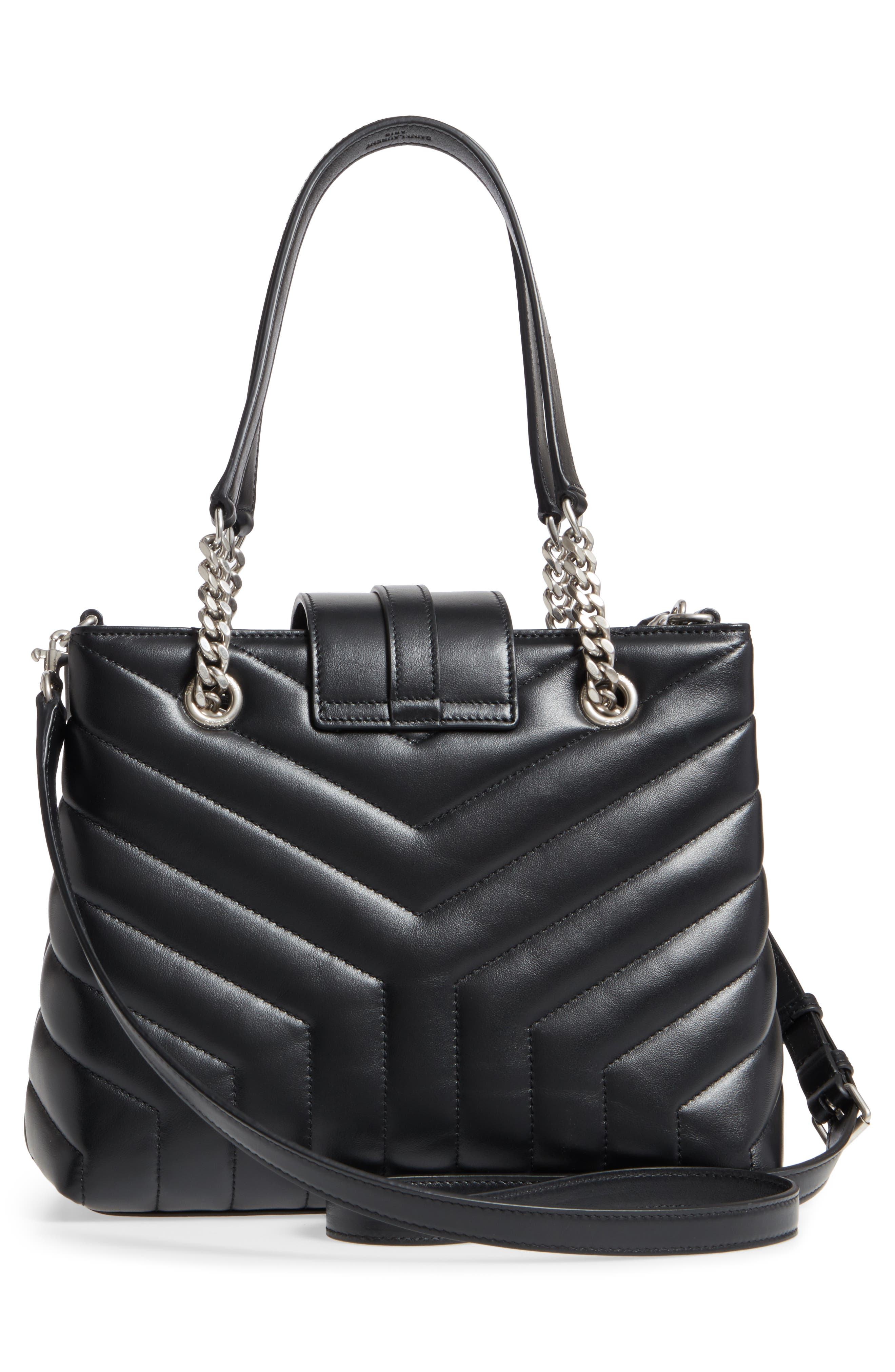 Small Loulou Matelassé Leather Shopper,                             Alternate thumbnail 3, color,                             NOIR