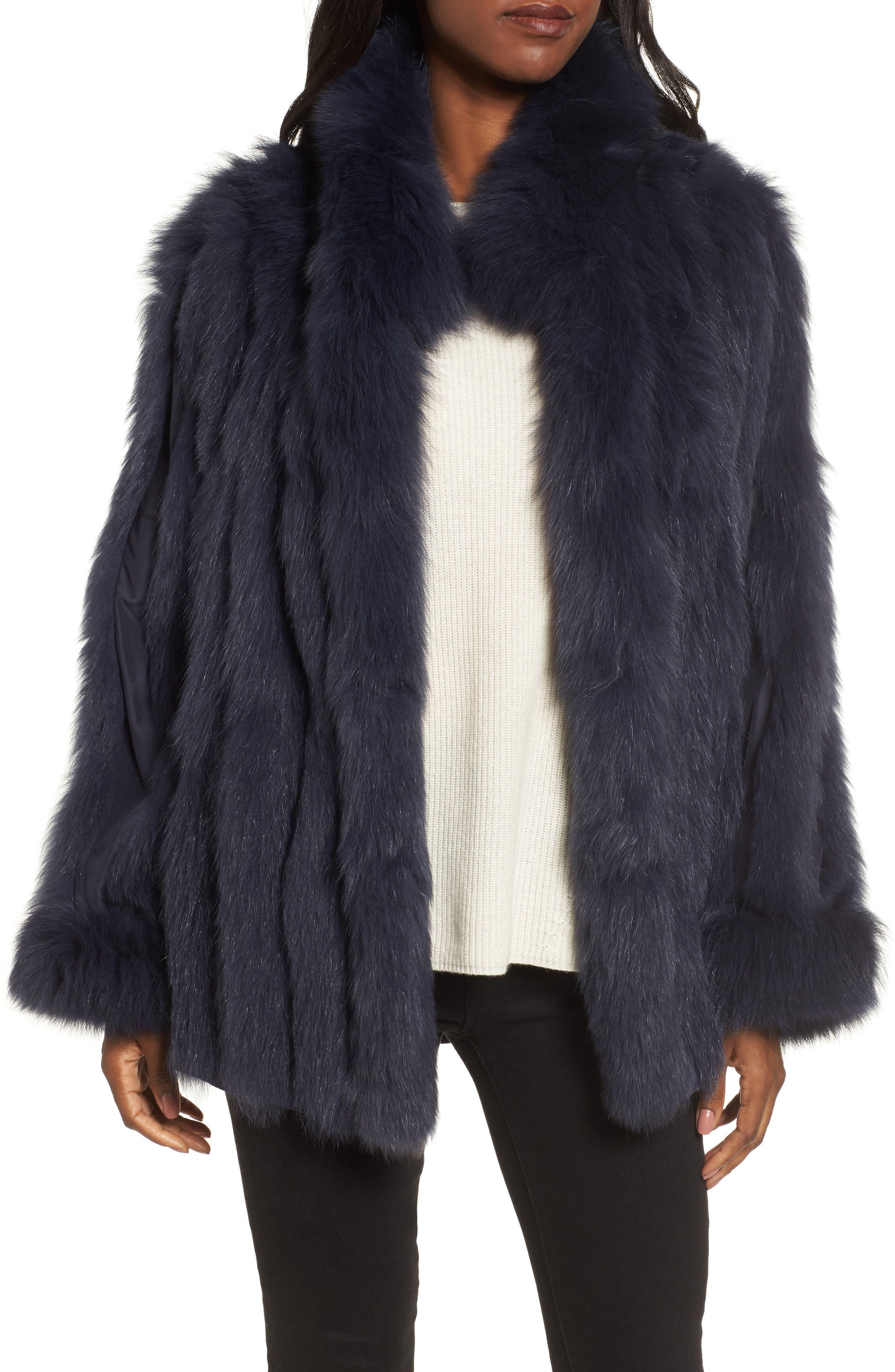 GeorgeSimonton Reversible Silk & Genuine Fox Fur Topper,                             Alternate thumbnail 17, color,