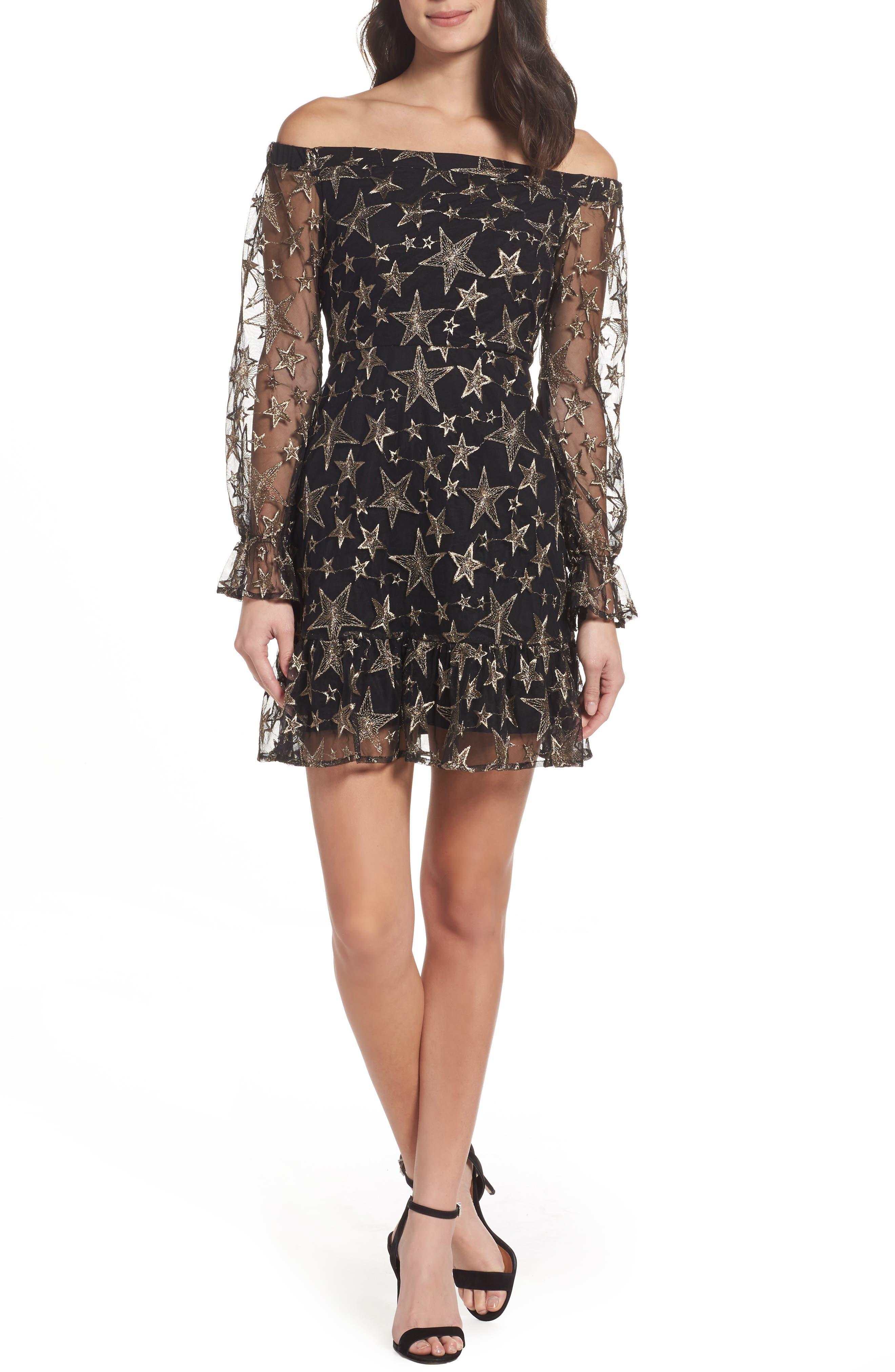 Off the Shoulder Star Embroidered Dress,                         Main,                         color, 001