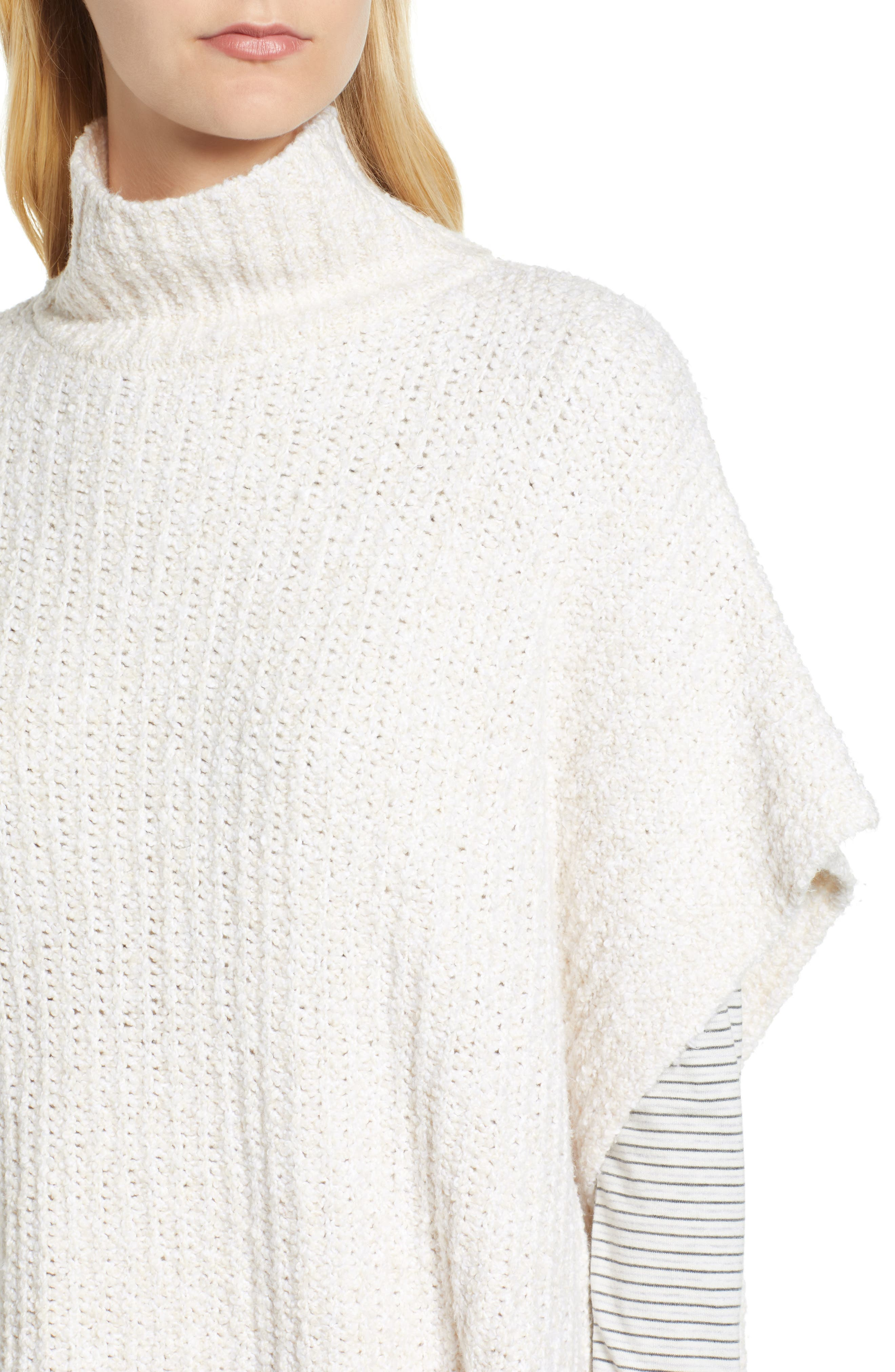 Ribbed Poncho Sweater,                             Alternate thumbnail 5, color,                             IVORY