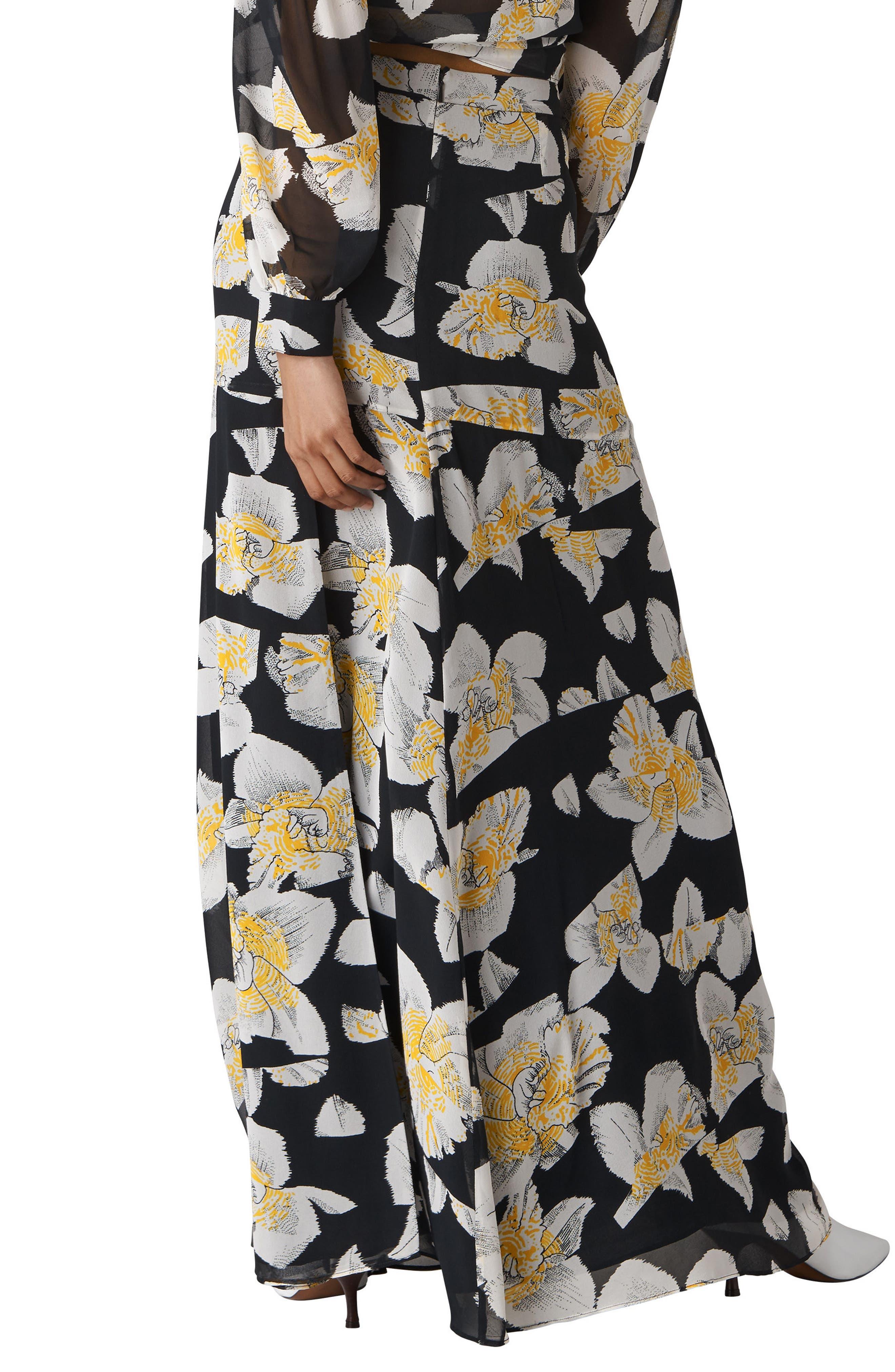 Rika Floral Silk Maxi Skirt,                             Alternate thumbnail 2, color,                             001