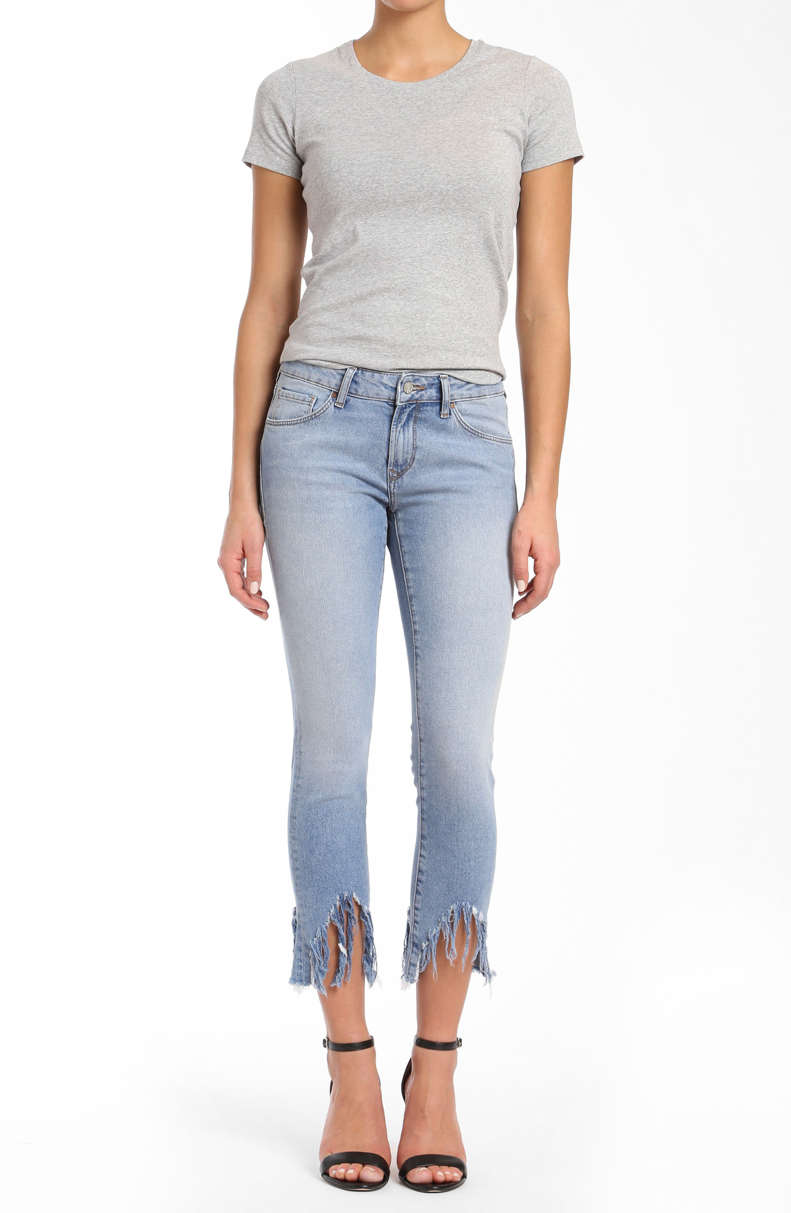 Adriana Sharkbite Fringe Super Skinny Jeans,                             Alternate thumbnail 5, color,                             LIGHT FRINGE 90S