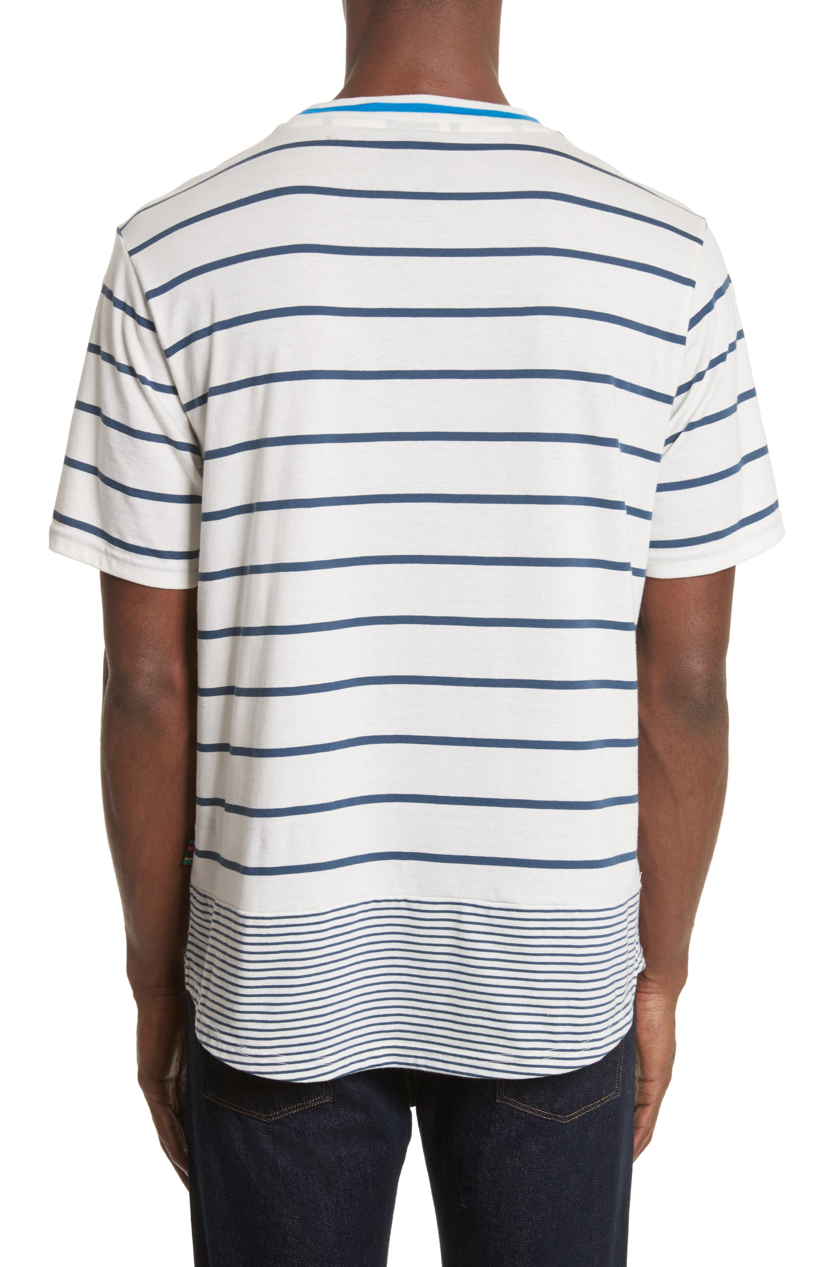 Mixed Stripe Pocket T-Shirt,                             Alternate thumbnail 2, color,                             435