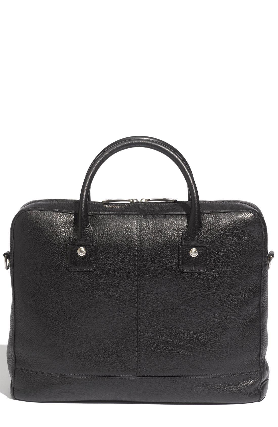 Slim Leather Briefcase,                             Alternate thumbnail 2, color,