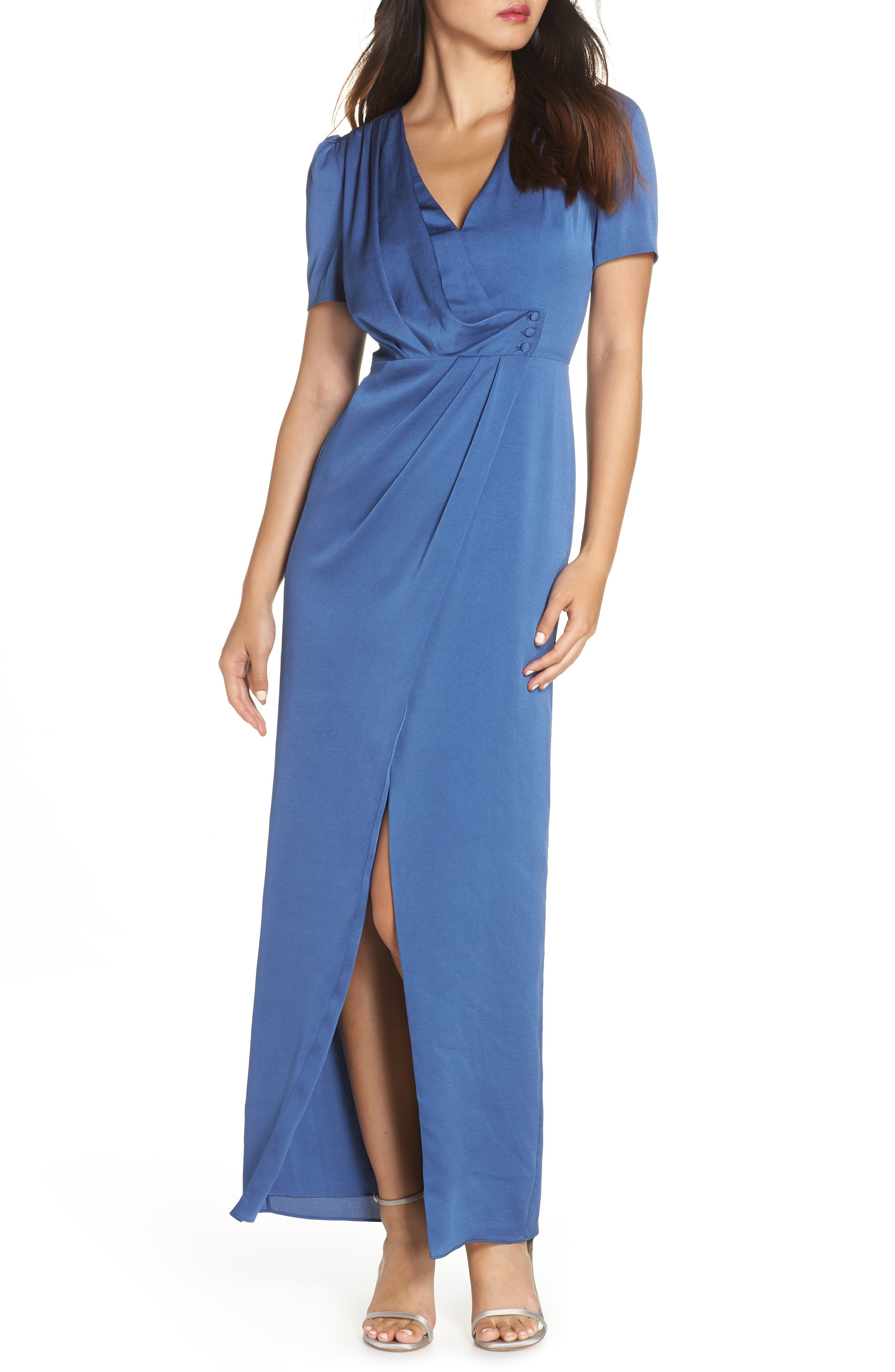 Fame And Partners The Carrie Sateen Gown, Blue