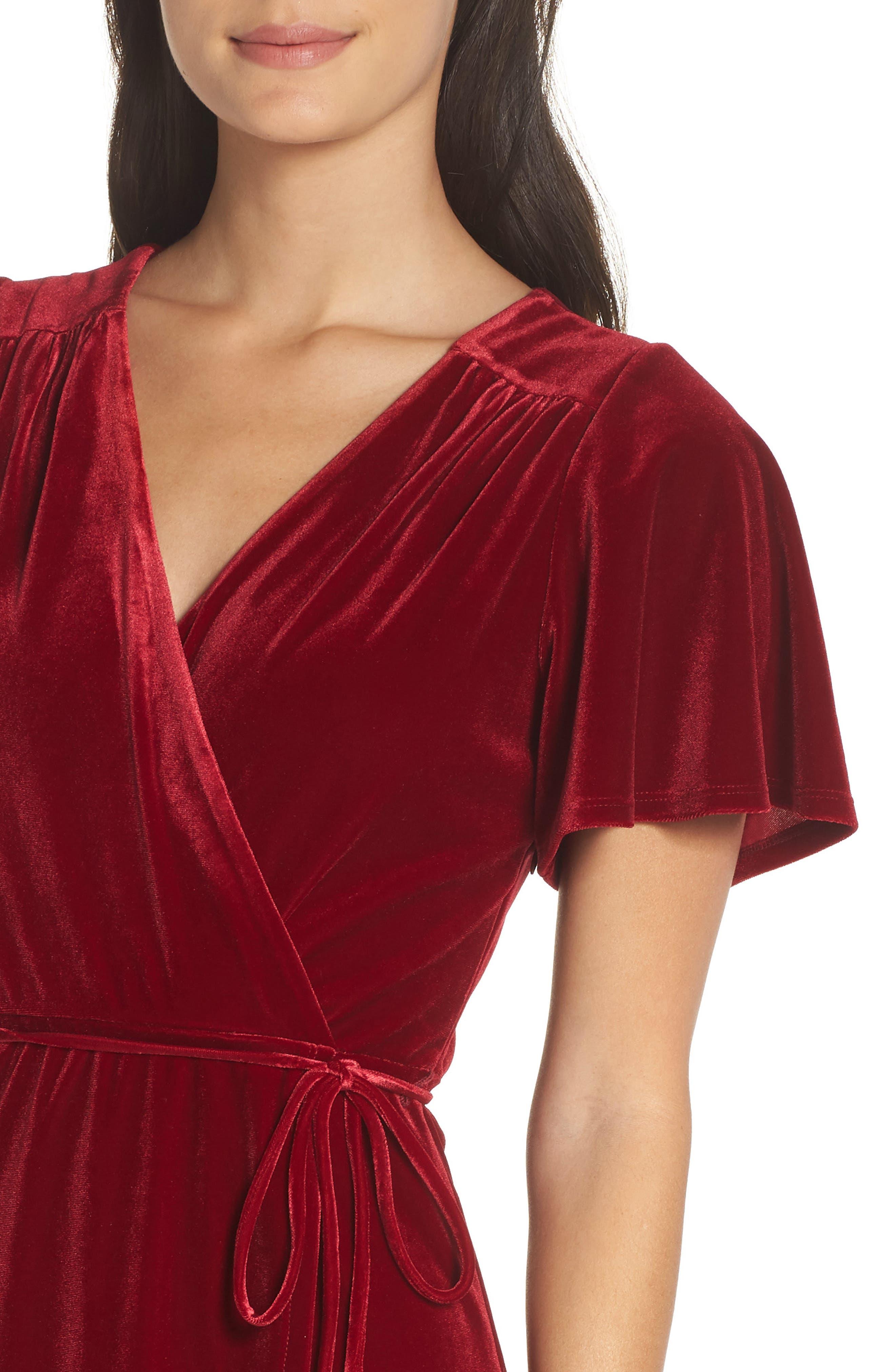 Velvet Midi Dress,                             Alternate thumbnail 4, color,                             RED TIBETAN