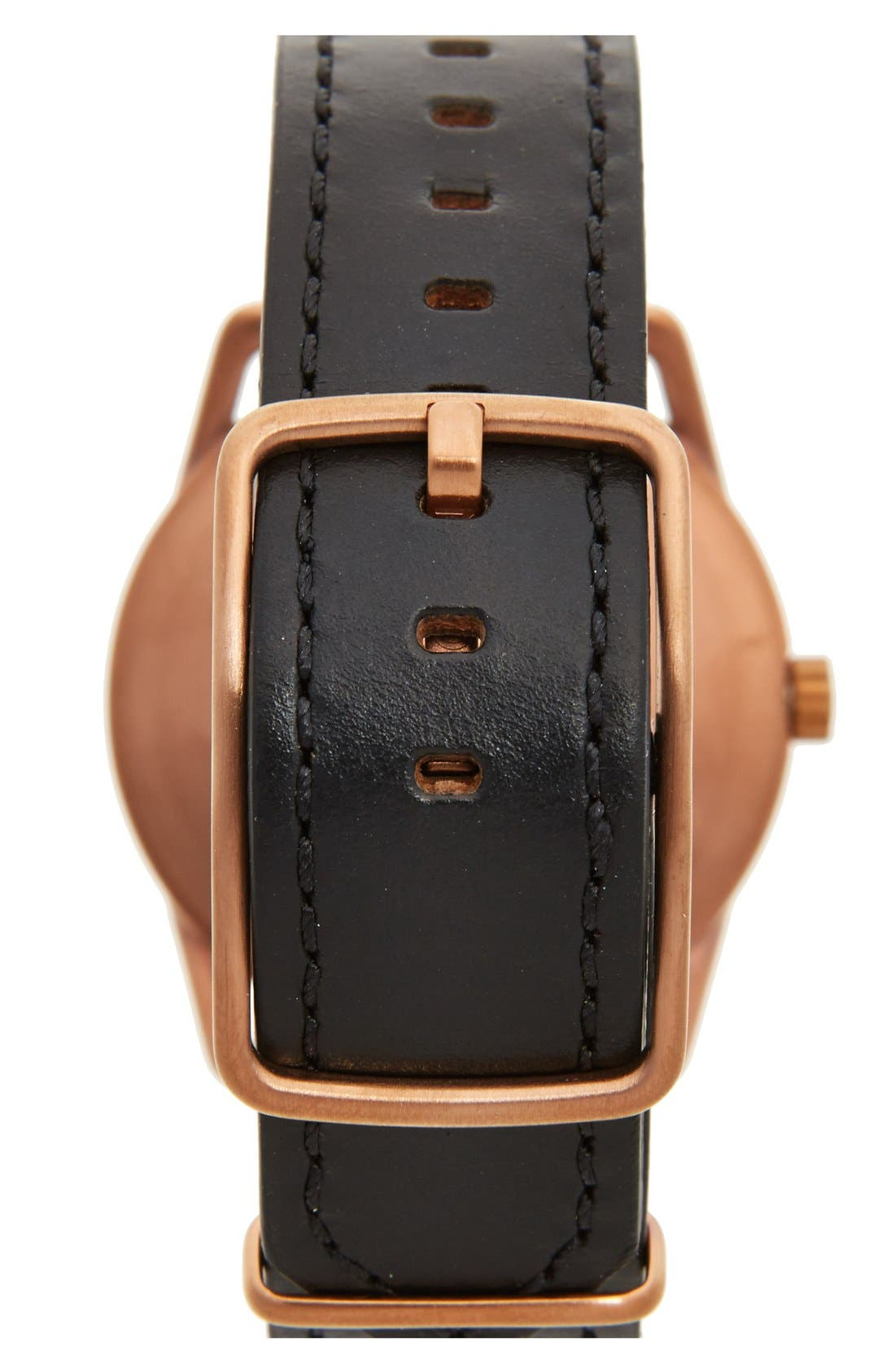 NIXON,                             'The Mellor' Leather Strap Watch, 38mm,                             Alternate thumbnail 2, color,                             001