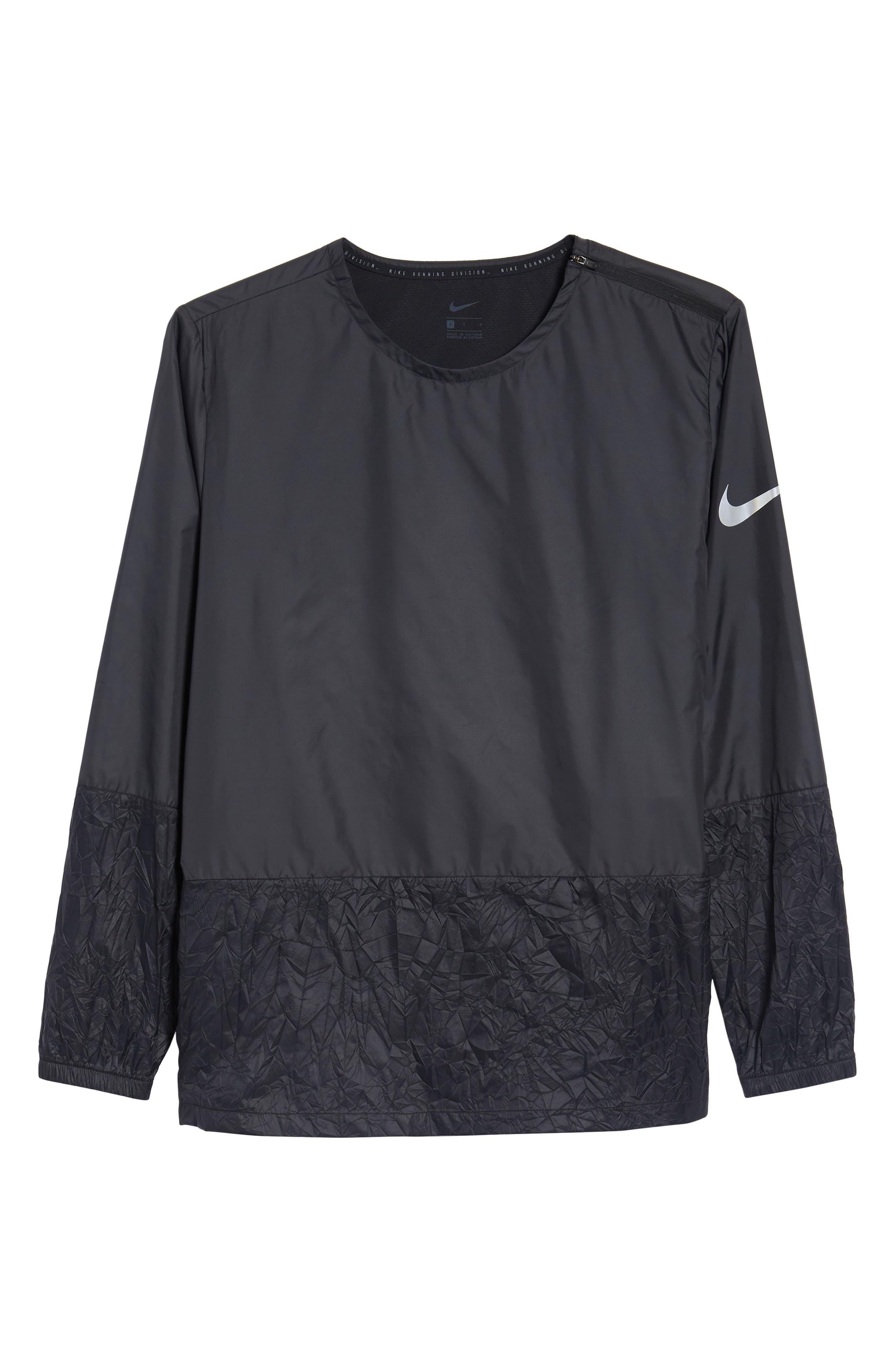 Long Sleeve Crinkle Crew Running Shirt,                             Alternate thumbnail 6, color,                             BLACK