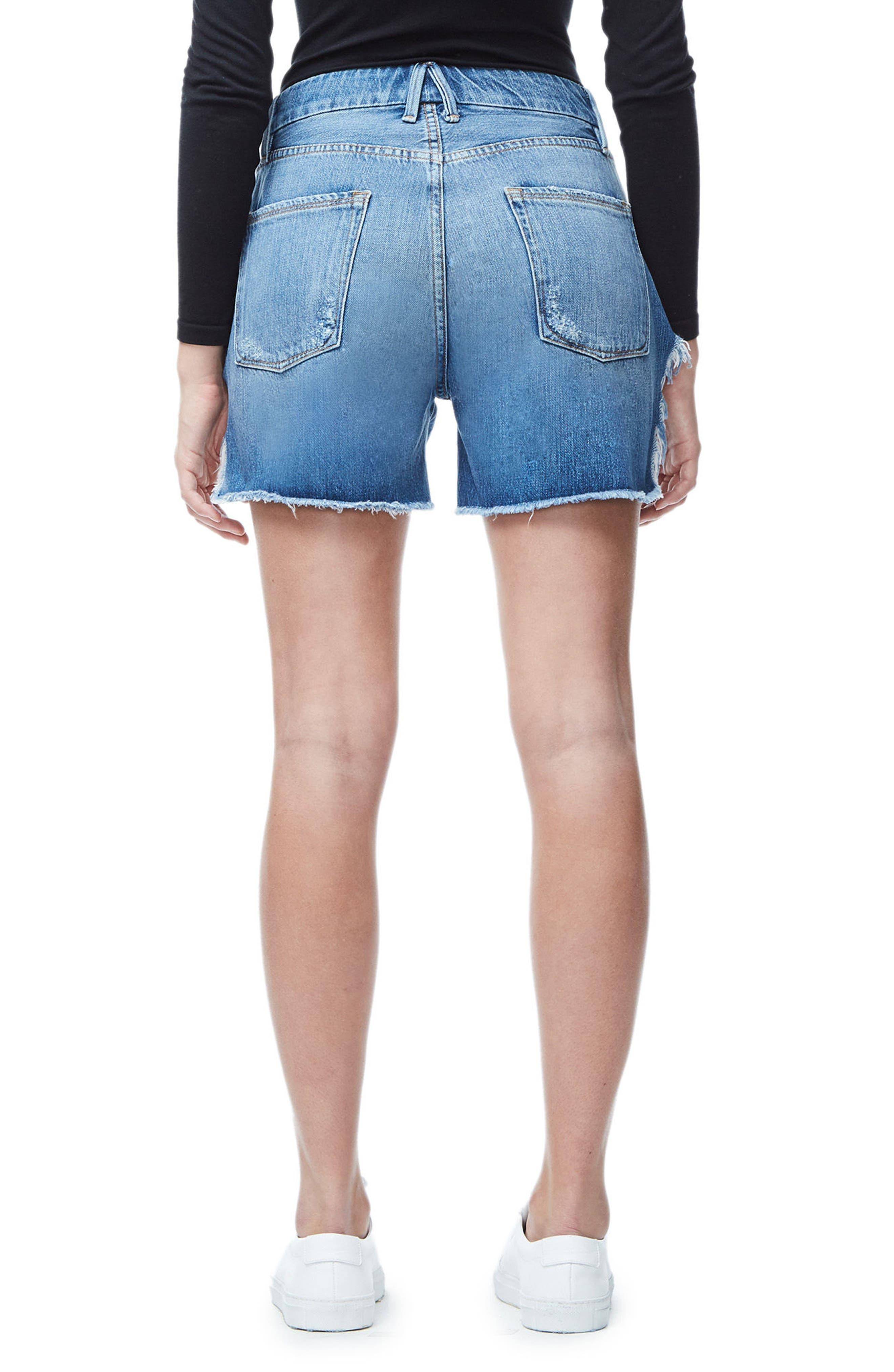 High Waist Denim Boyfriend Shorts,                             Alternate thumbnail 2, color,                             BLUE042