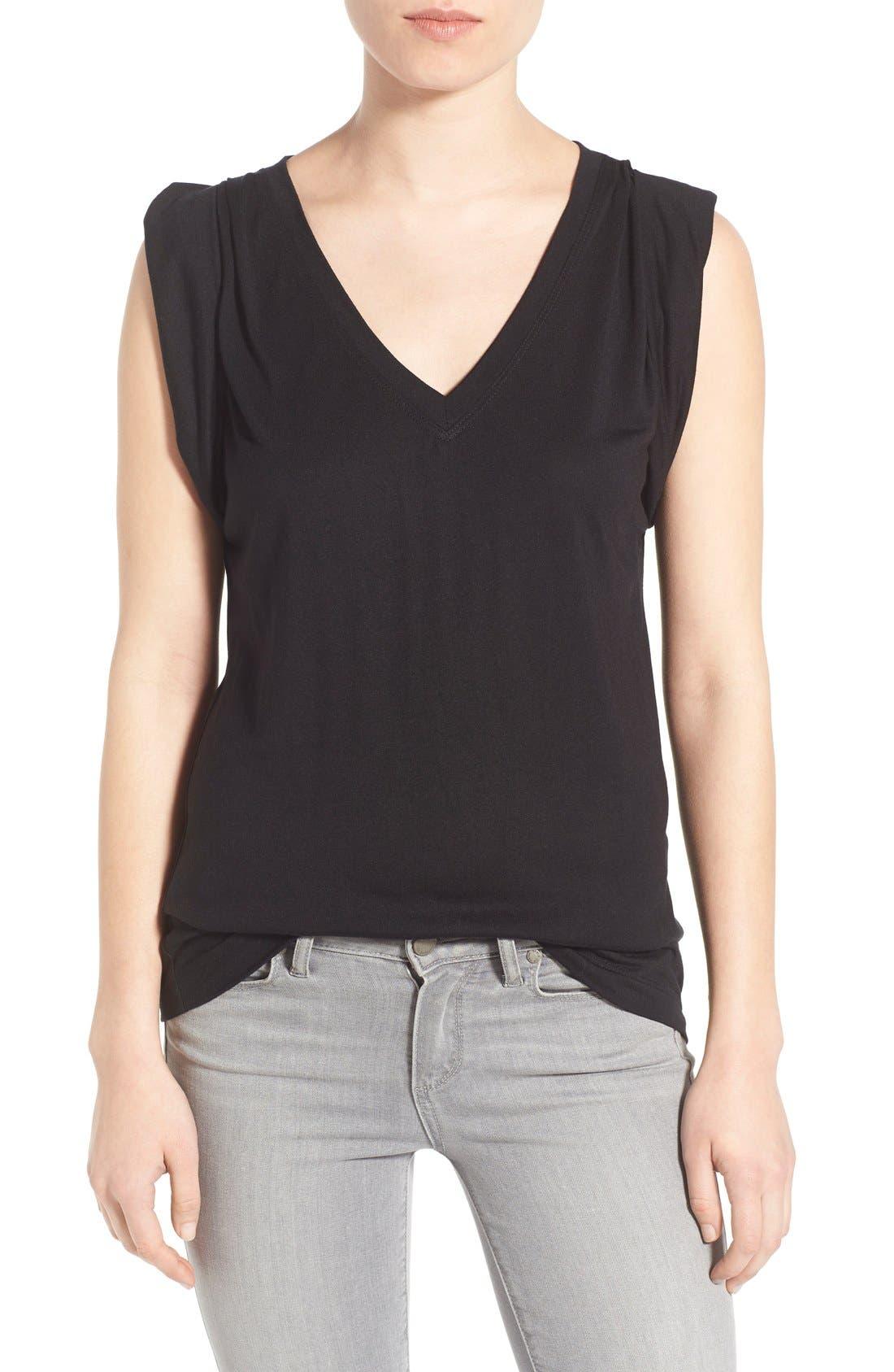 Shoulder Pleat Sleeveless Tee,                         Main,                         color, 001