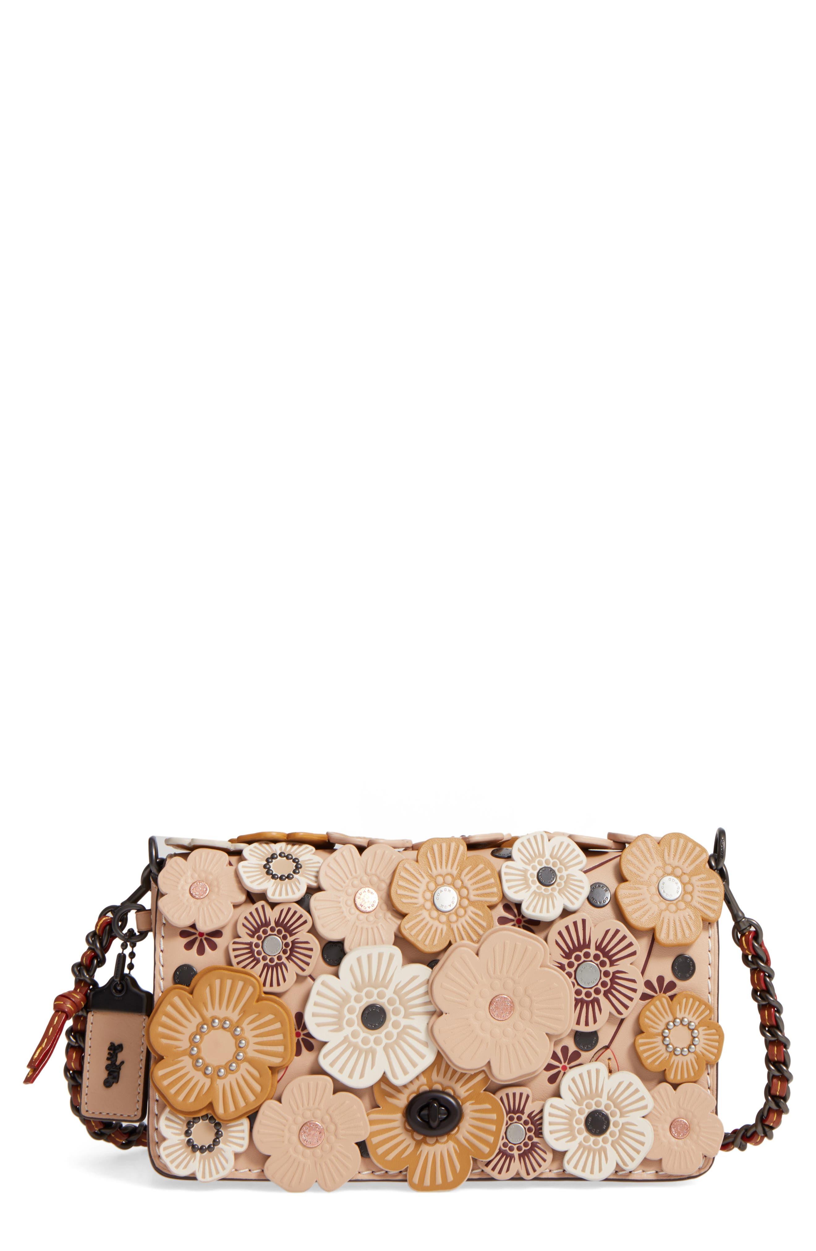 'Dinky' Flower Appliqué Leather Crossbody Bag,                             Main thumbnail 10, color,