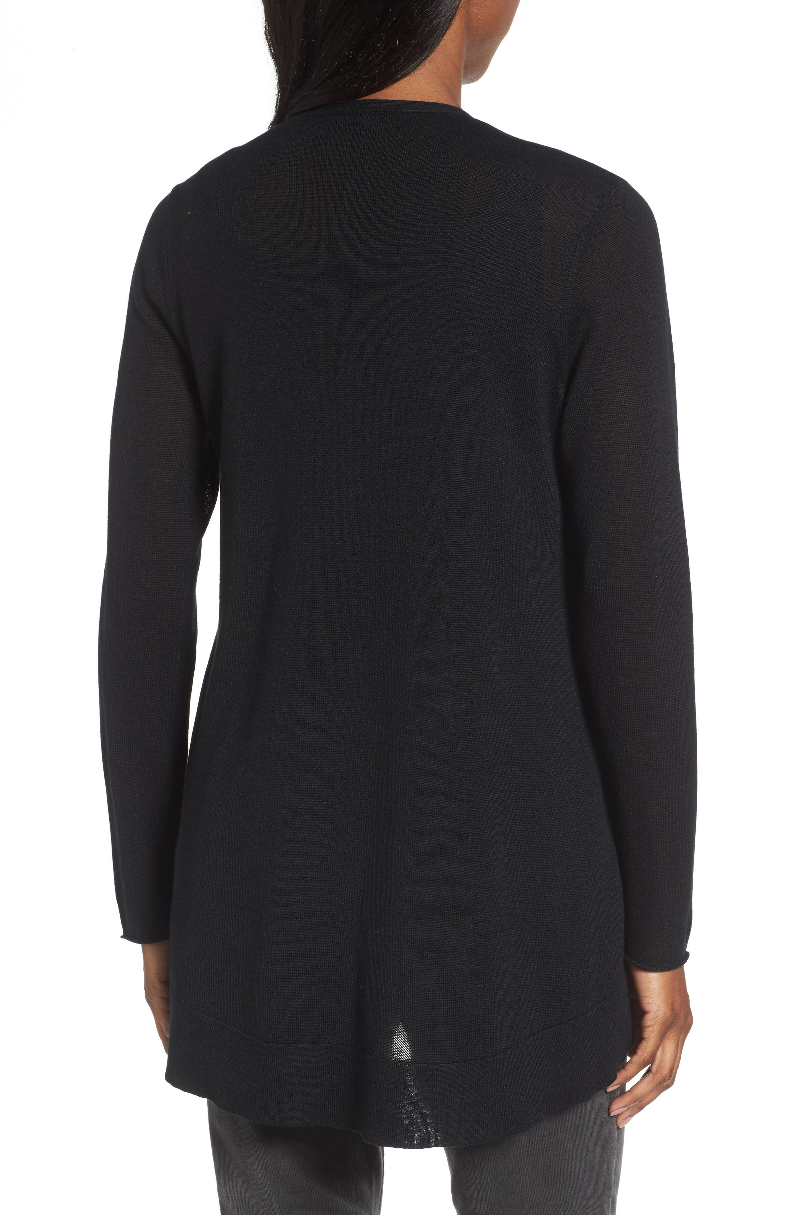 Slouchy Tencel<sup>®</sup> Blend Cardigan,                             Alternate thumbnail 2, color,                             001