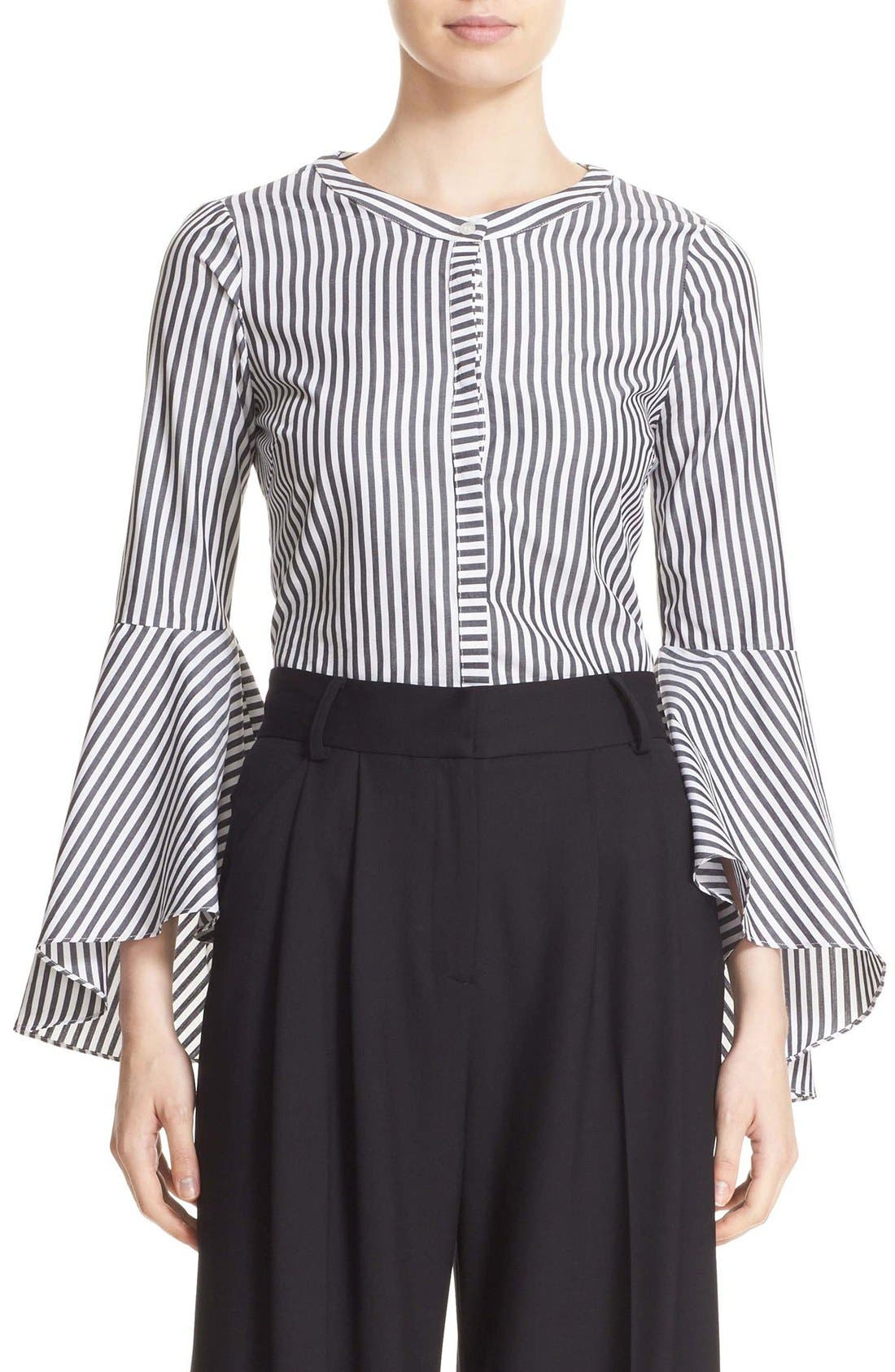 'Ruthie' Stripe Cotton Bell Sleeve Blouse,                             Main thumbnail 1, color,                             001
