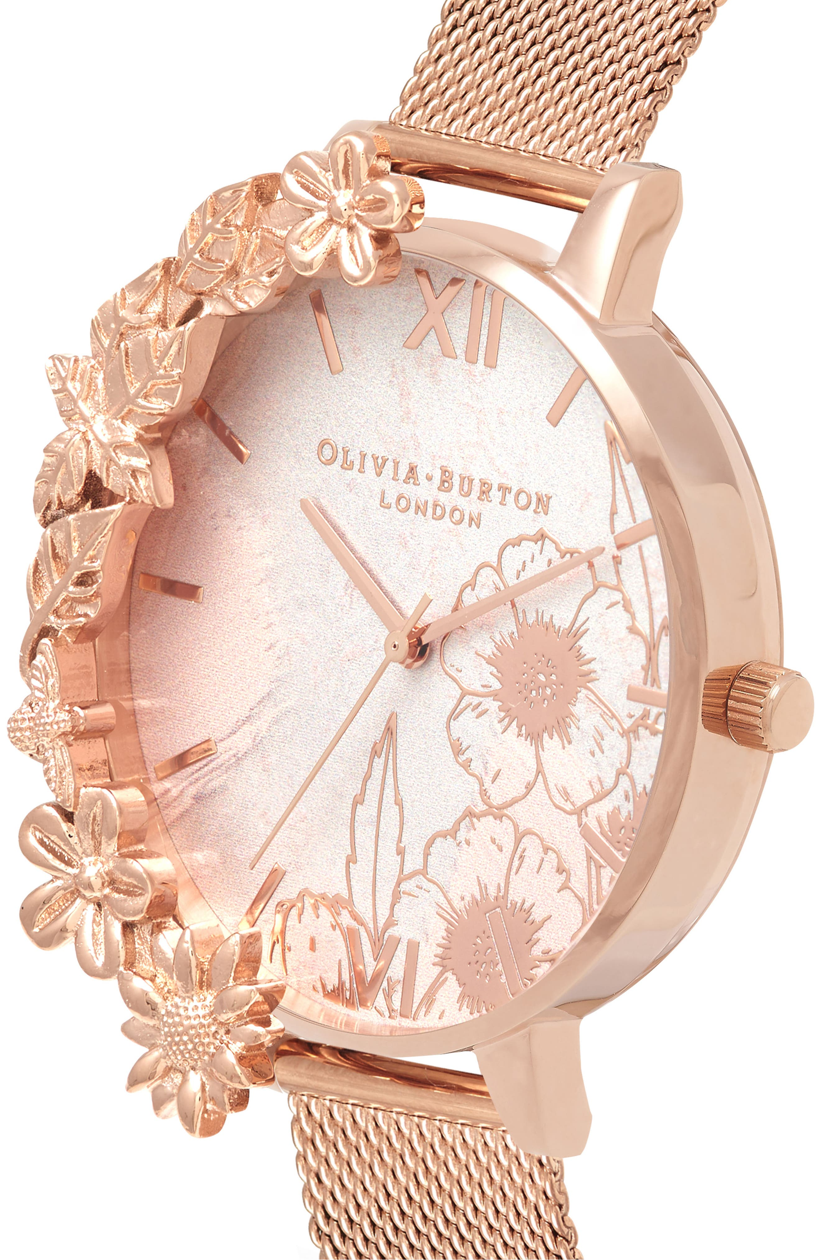 Case Cuff Mesh Strap Watch, 38mm,                             Alternate thumbnail 3, color,                             ROSE GOLD/ FLORAL/ ROSE GOLD