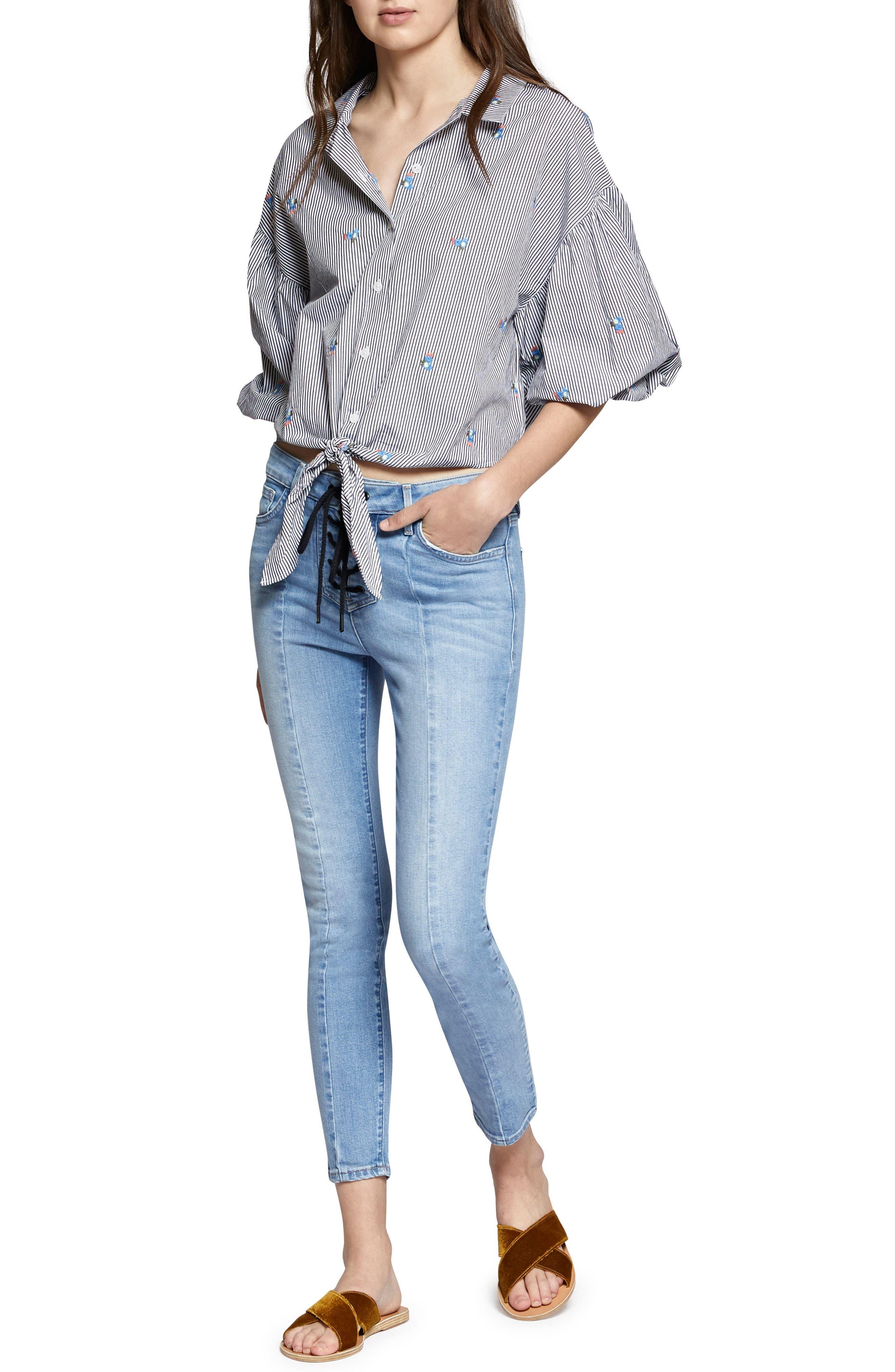 Clover Tie Front Cotton Shirt,                             Alternate thumbnail 7, color,