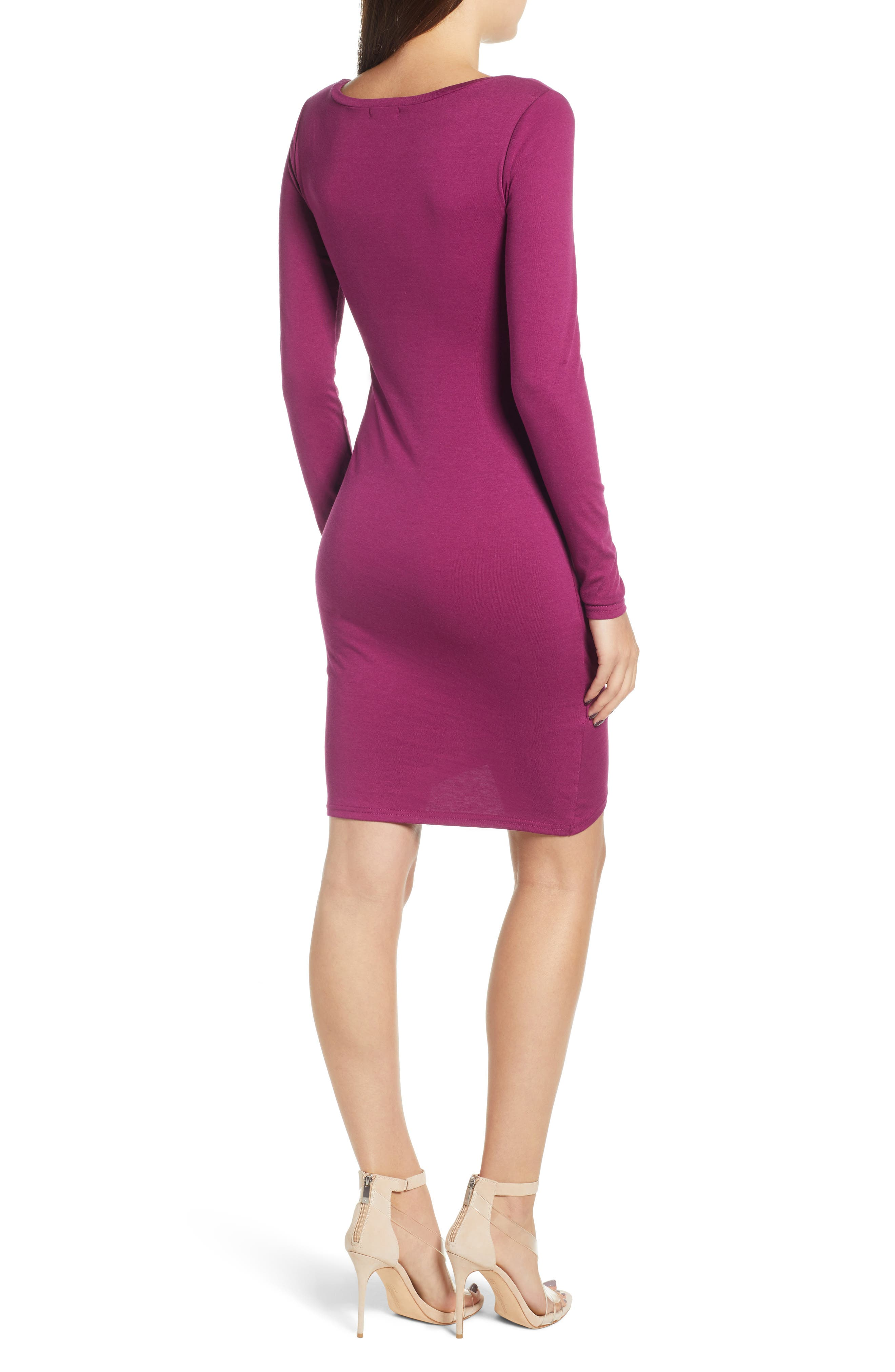 Ruched Long Sleeve Dress,                             Alternate thumbnail 2, color,                             PURPLE MAGENTA