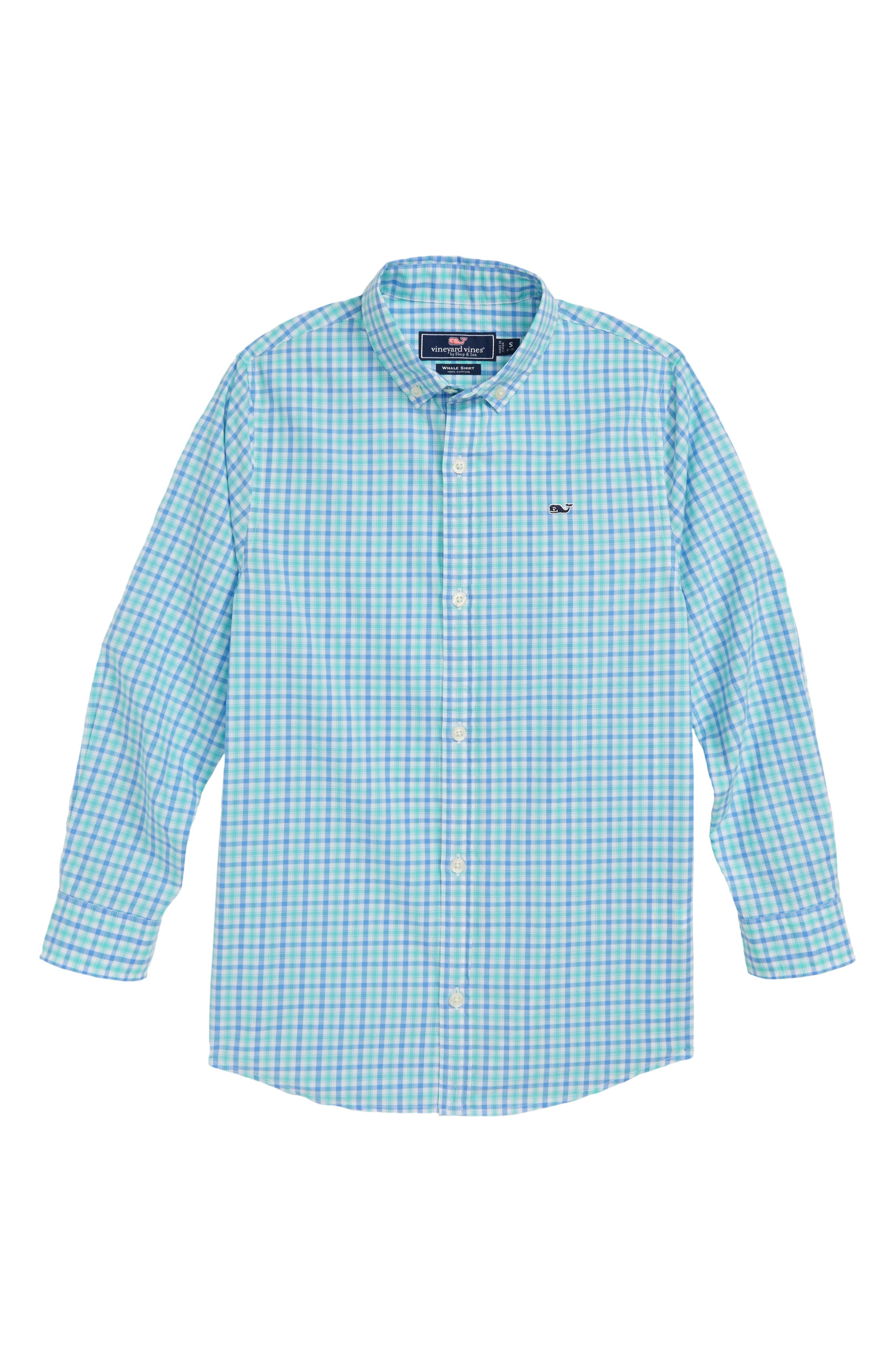 Poplin Cotton Whale Shirt,                             Main thumbnail 1, color,                             CAPRI BLUE