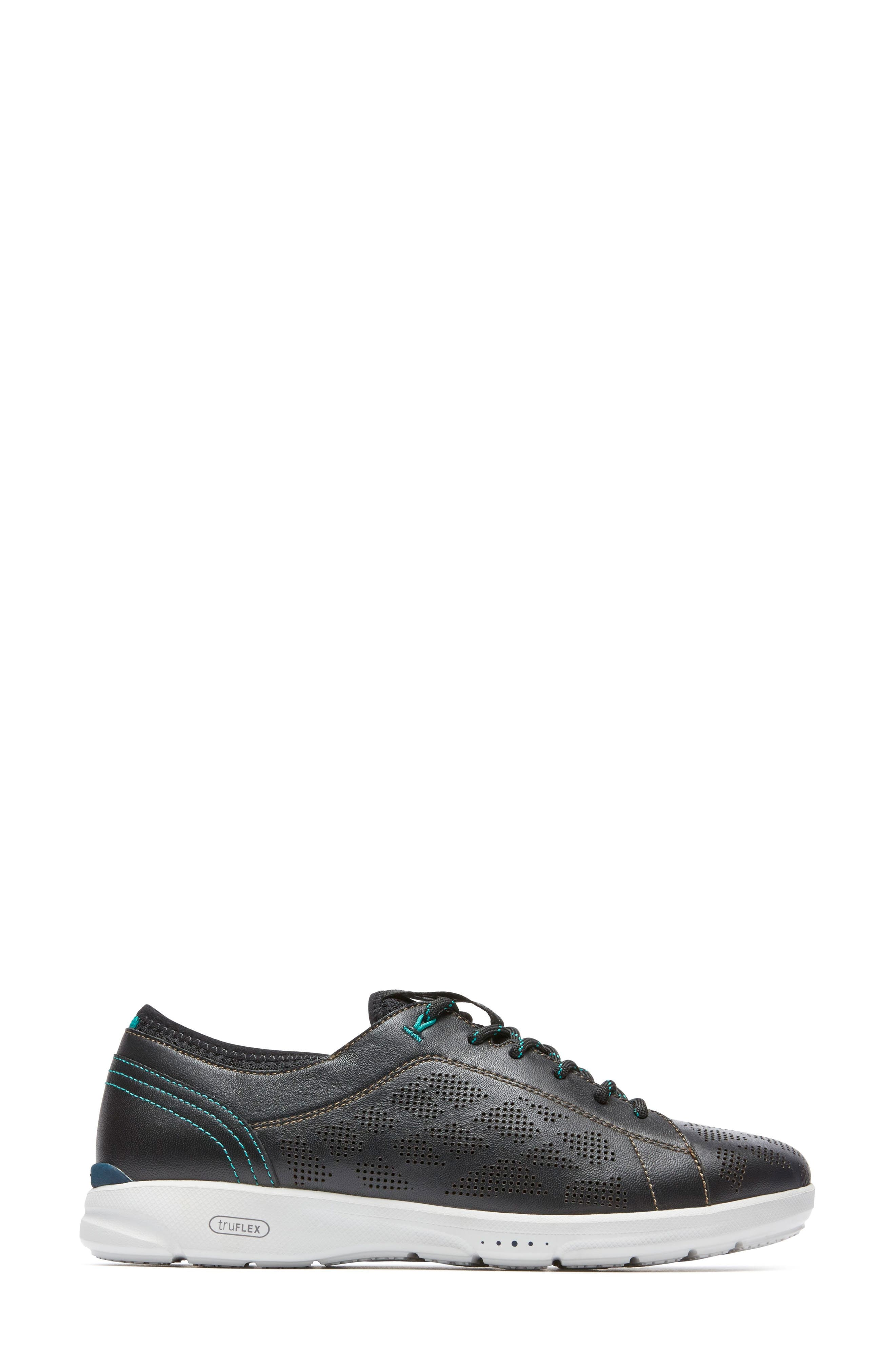 truFLEX Perforated Sneaker,                             Alternate thumbnail 3, color,                             BLACK LEATHER