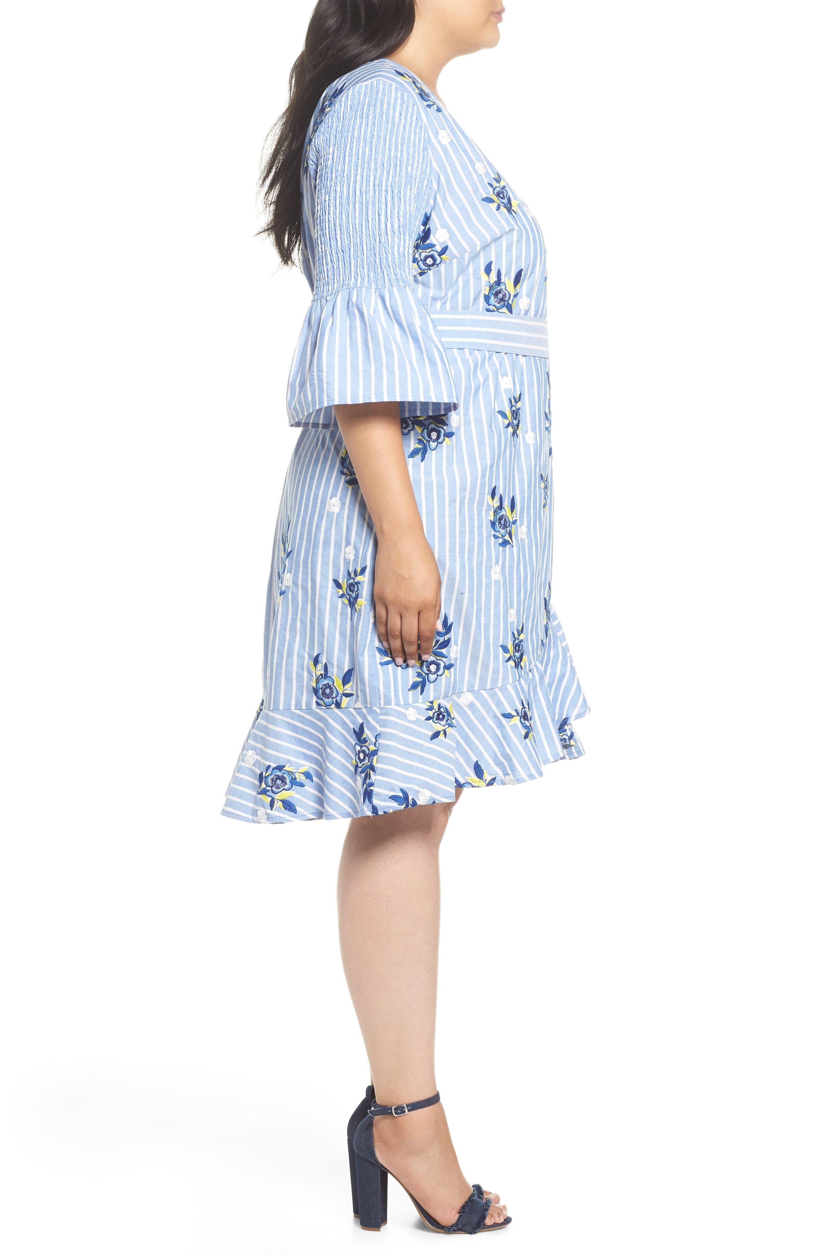 Embroidered Stripe Wrap Dress,                             Alternate thumbnail 3, color,                             BLUE/ WHITE