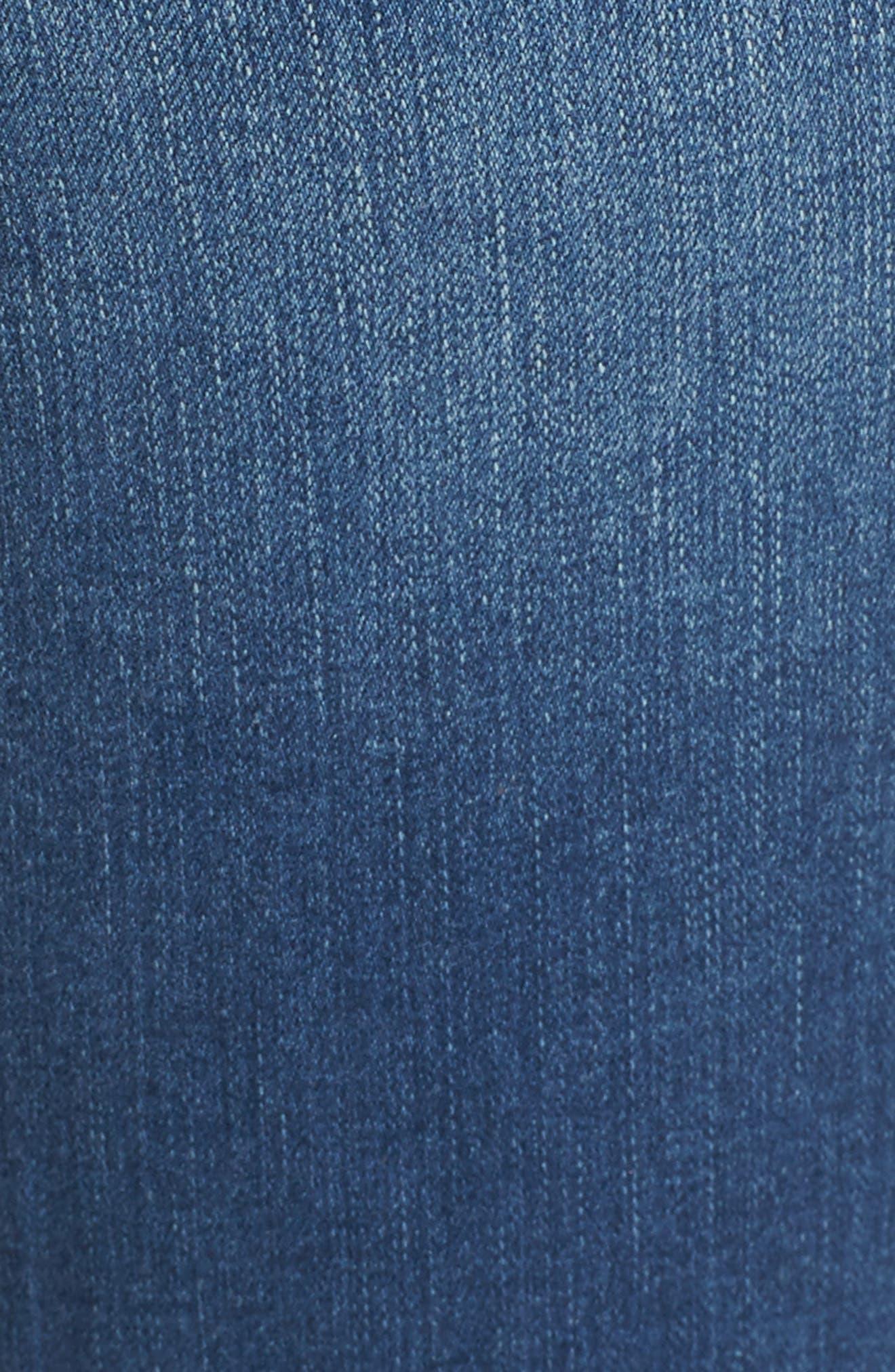 Peri Pull-On Straight Leg Jeans,                             Alternate thumbnail 5, color,                             MEDIUM INDIGO