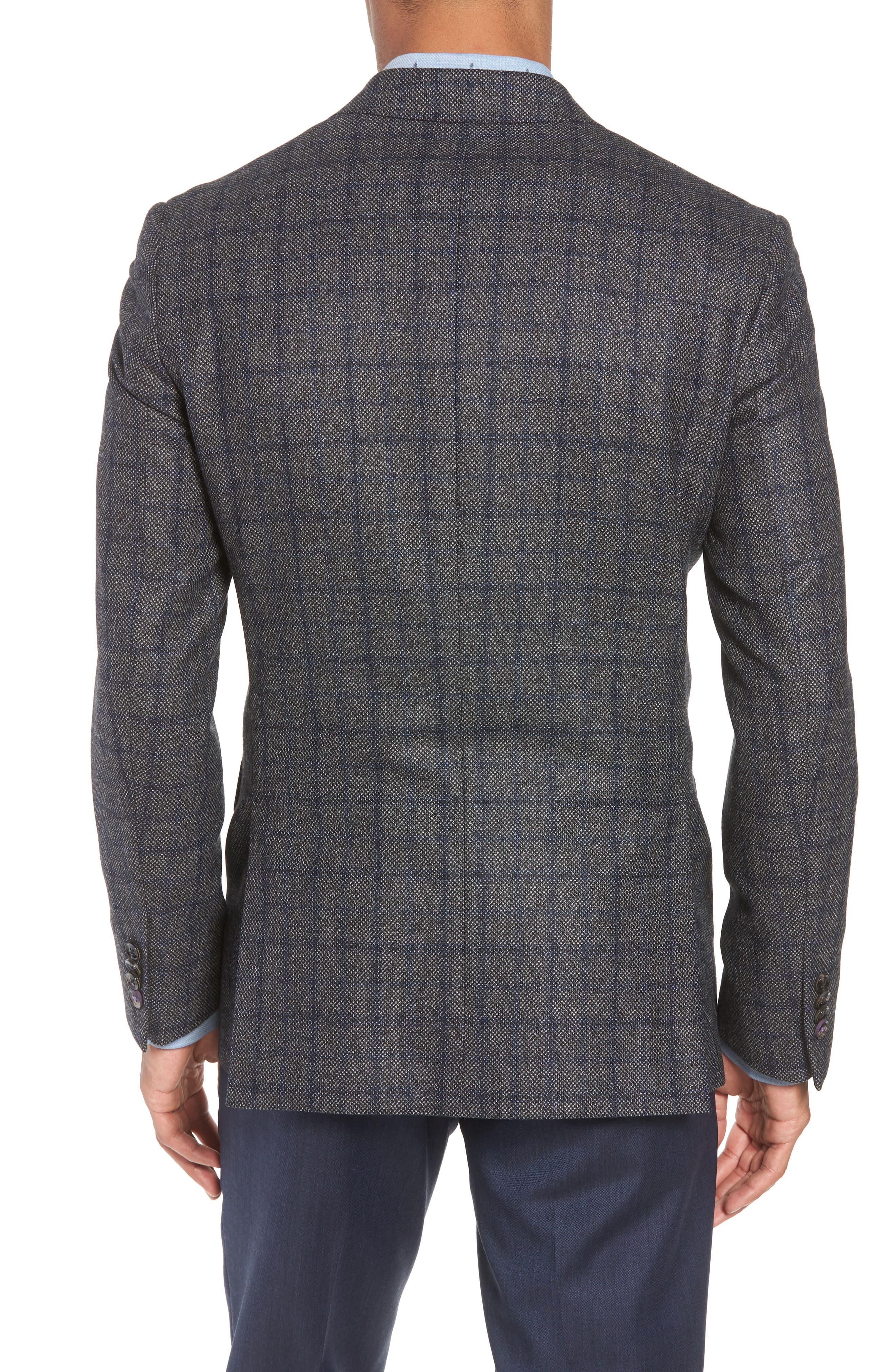 Konan Trim Fit Windowpane Wool Sport Coat,                             Alternate thumbnail 2, color,                             GREY