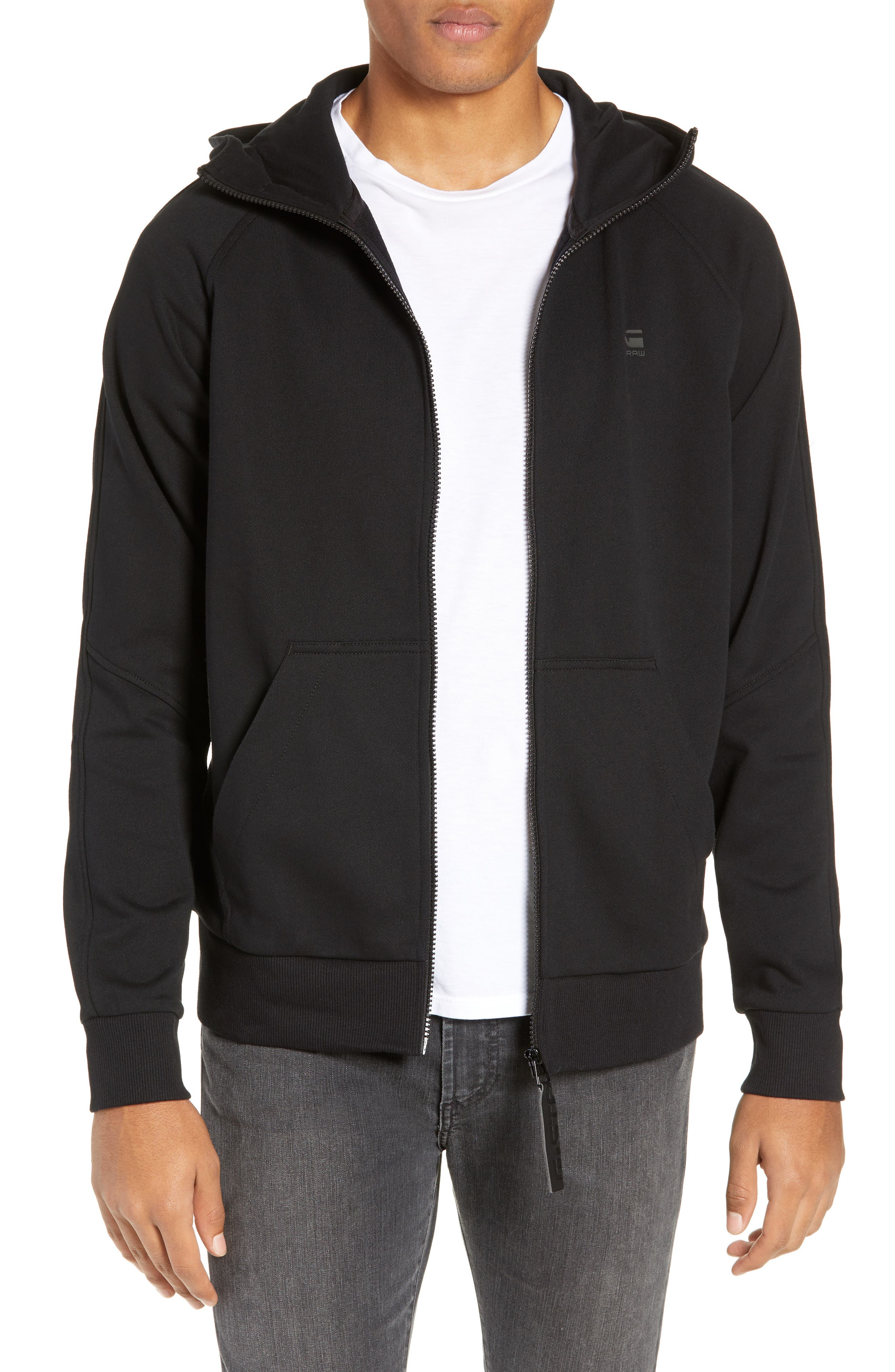 Funnel Collar Zip Hoodie,                         Main,                         color, DARK BLACK