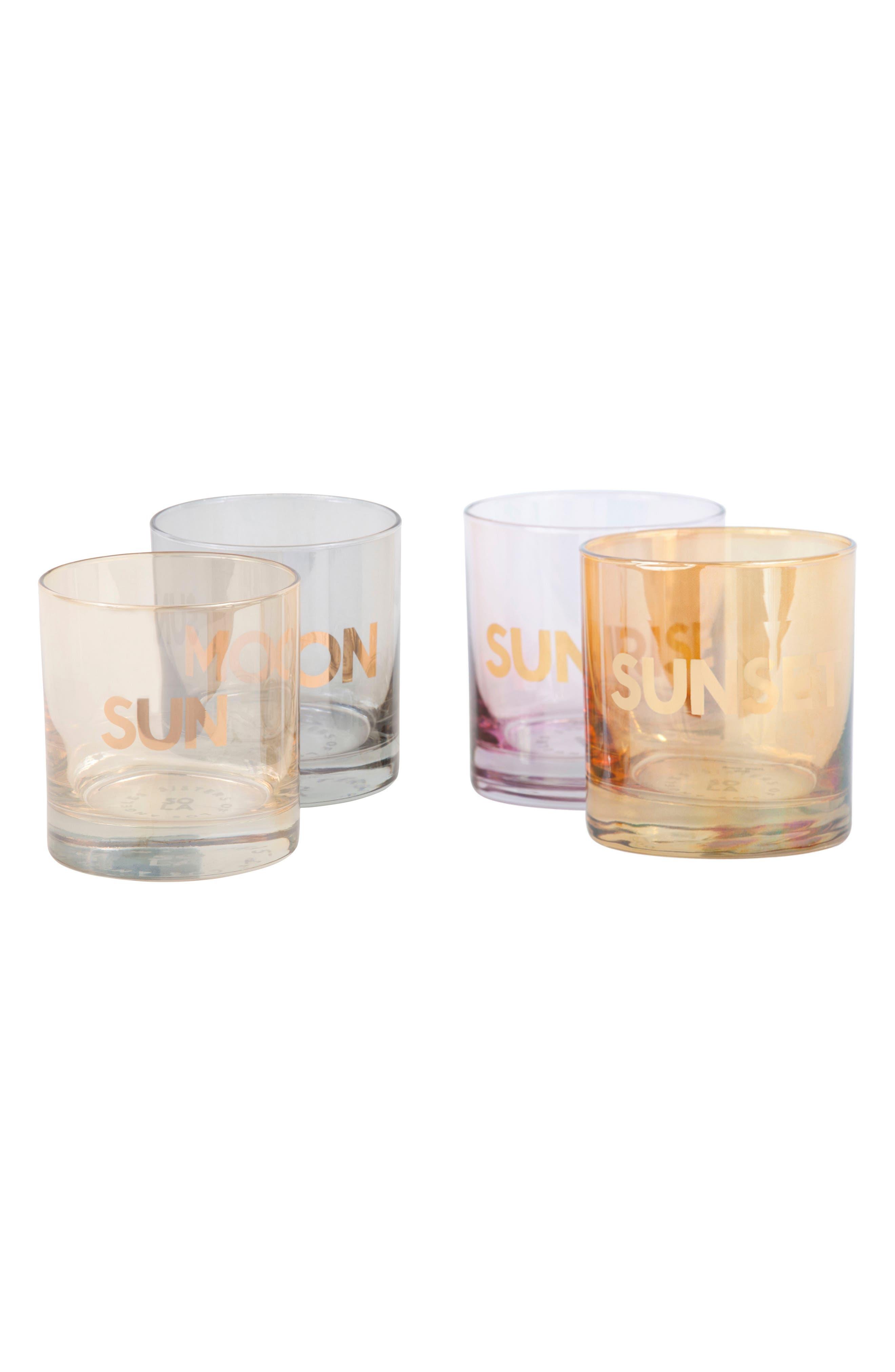 Sun/Moon & Sunrise/Sunset Set of 4 Double Old Fashioned Glasses,                             Main thumbnail 1, color,                             710