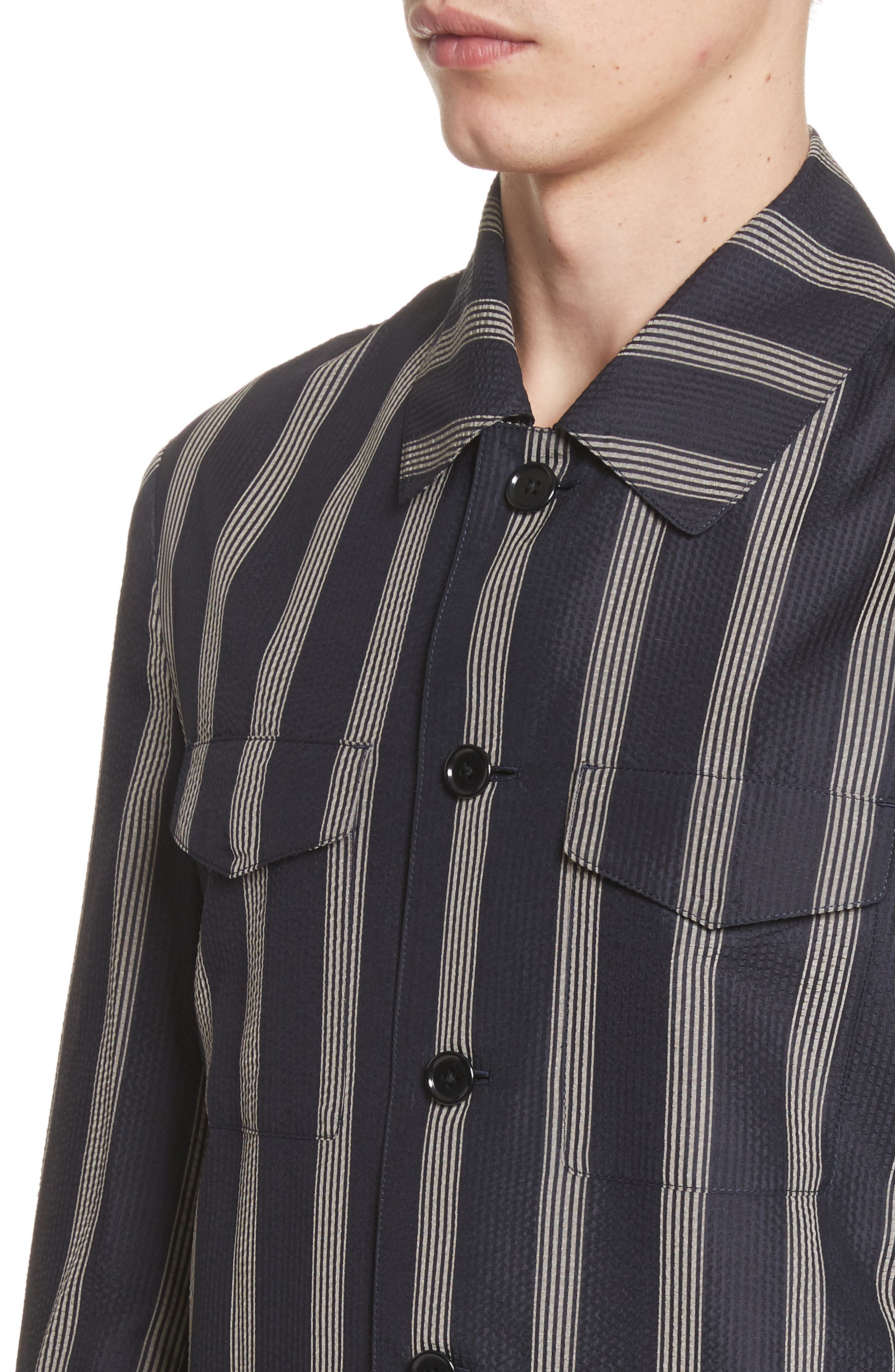 Stripe Silk Shirt,                             Alternate thumbnail 4, color,                             001