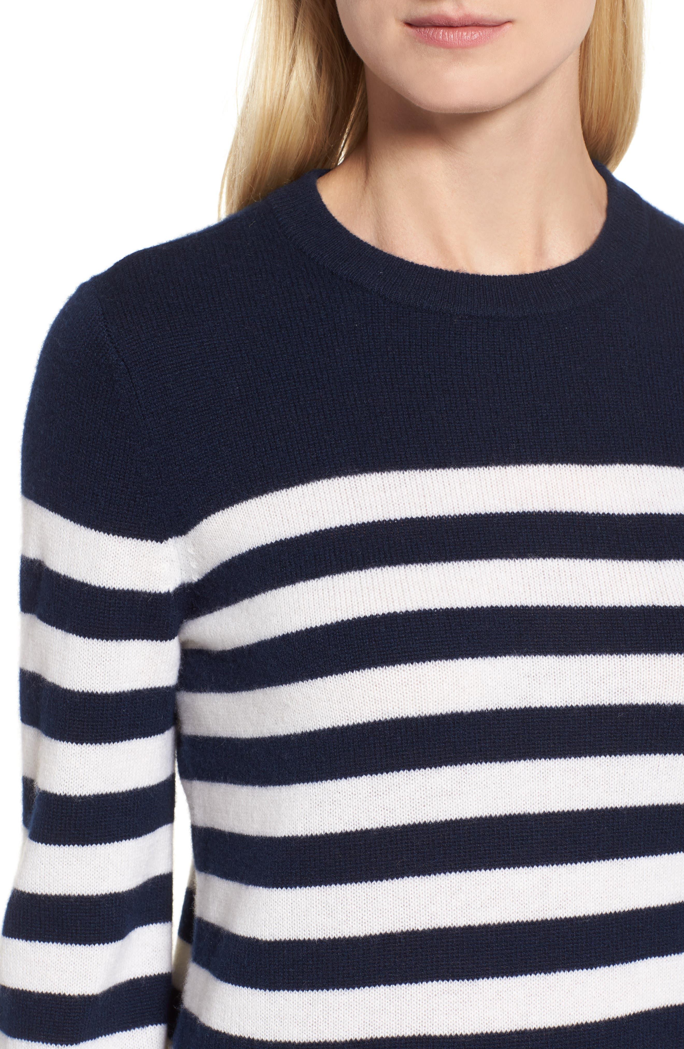Stripe Cashmere Sweater,                             Alternate thumbnail 4, color,                             410