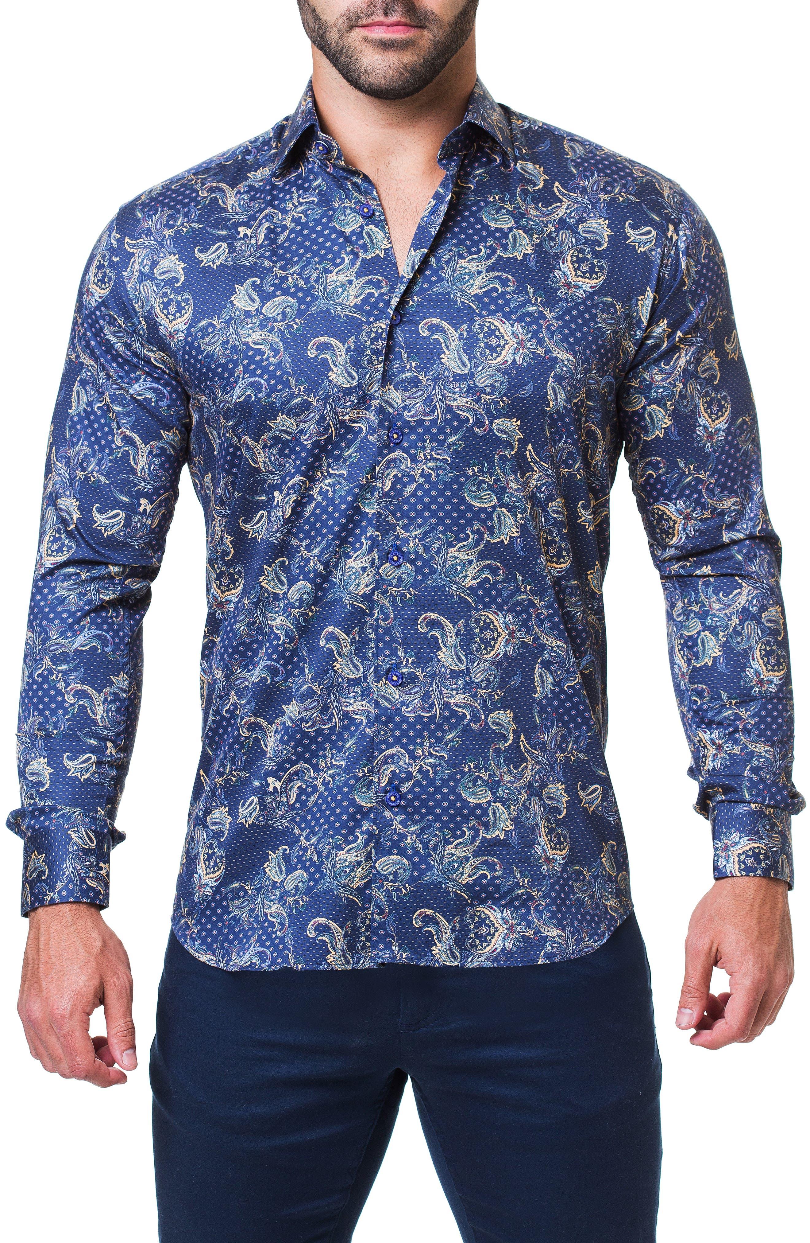 Fibonacci Victorian Paisley Regular Fit Sport Shirt,                             Main thumbnail 1, color,                             BLUE