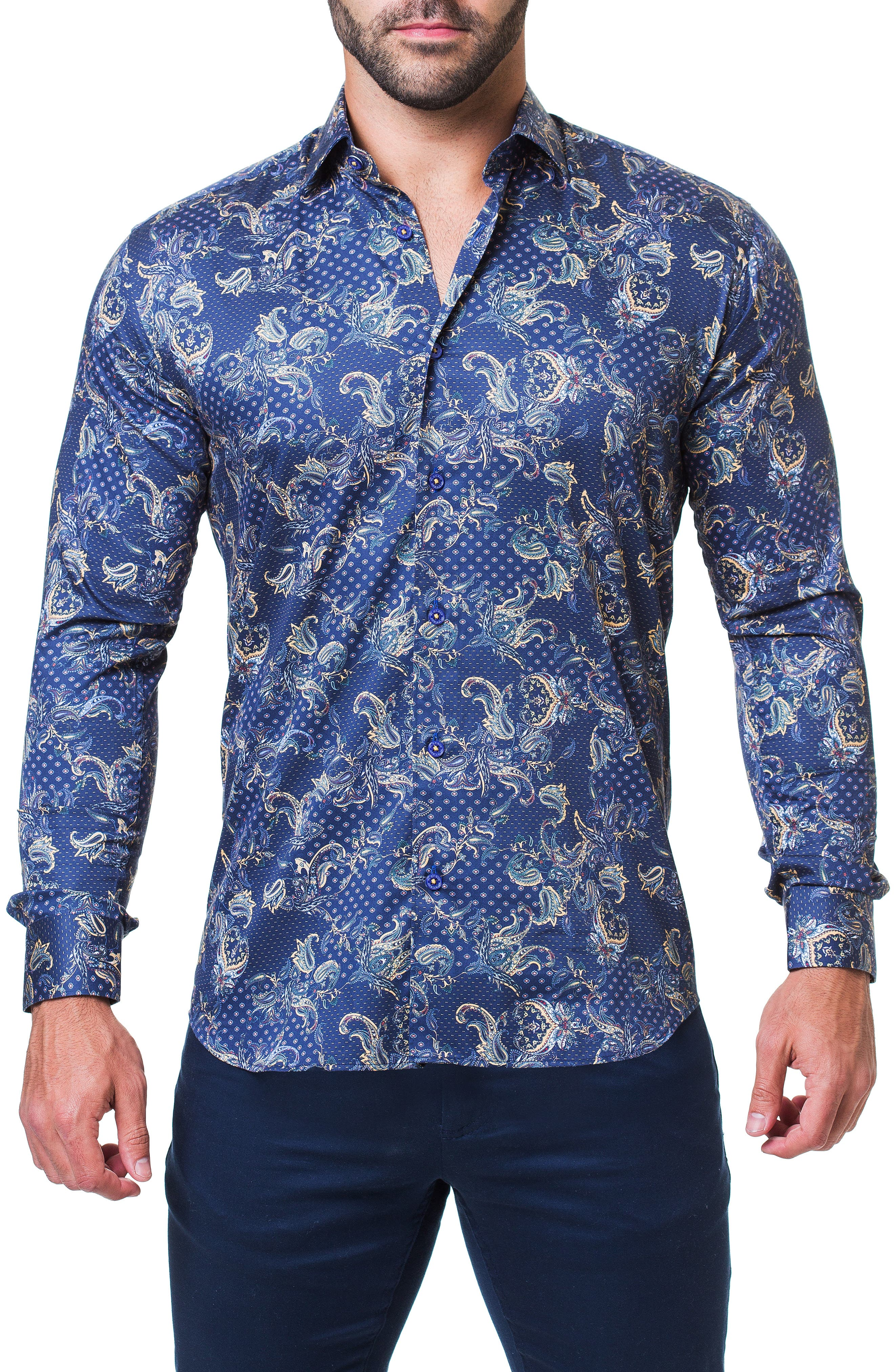 Fibonacci Victorian Paisley Print Trim Fit Sport Shirt,                         Main,                         color, BLUE