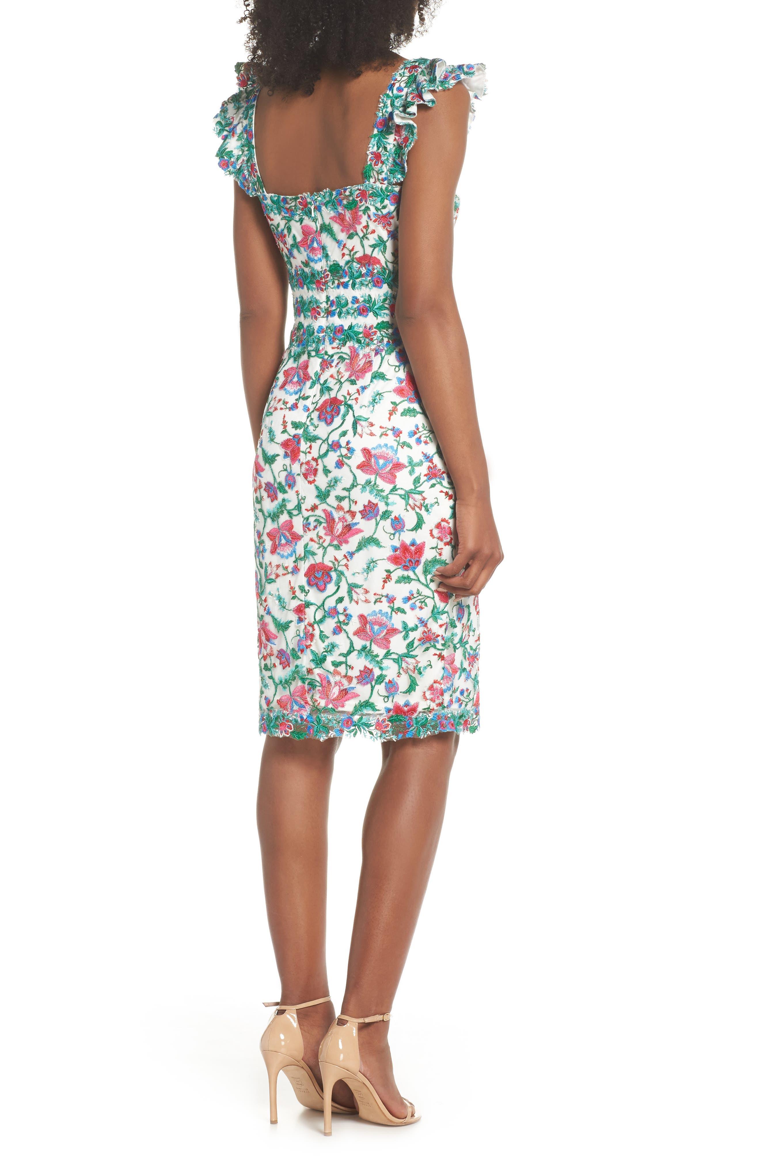 Ximena Embroidered Sheath Dress,                             Alternate thumbnail 2, color,