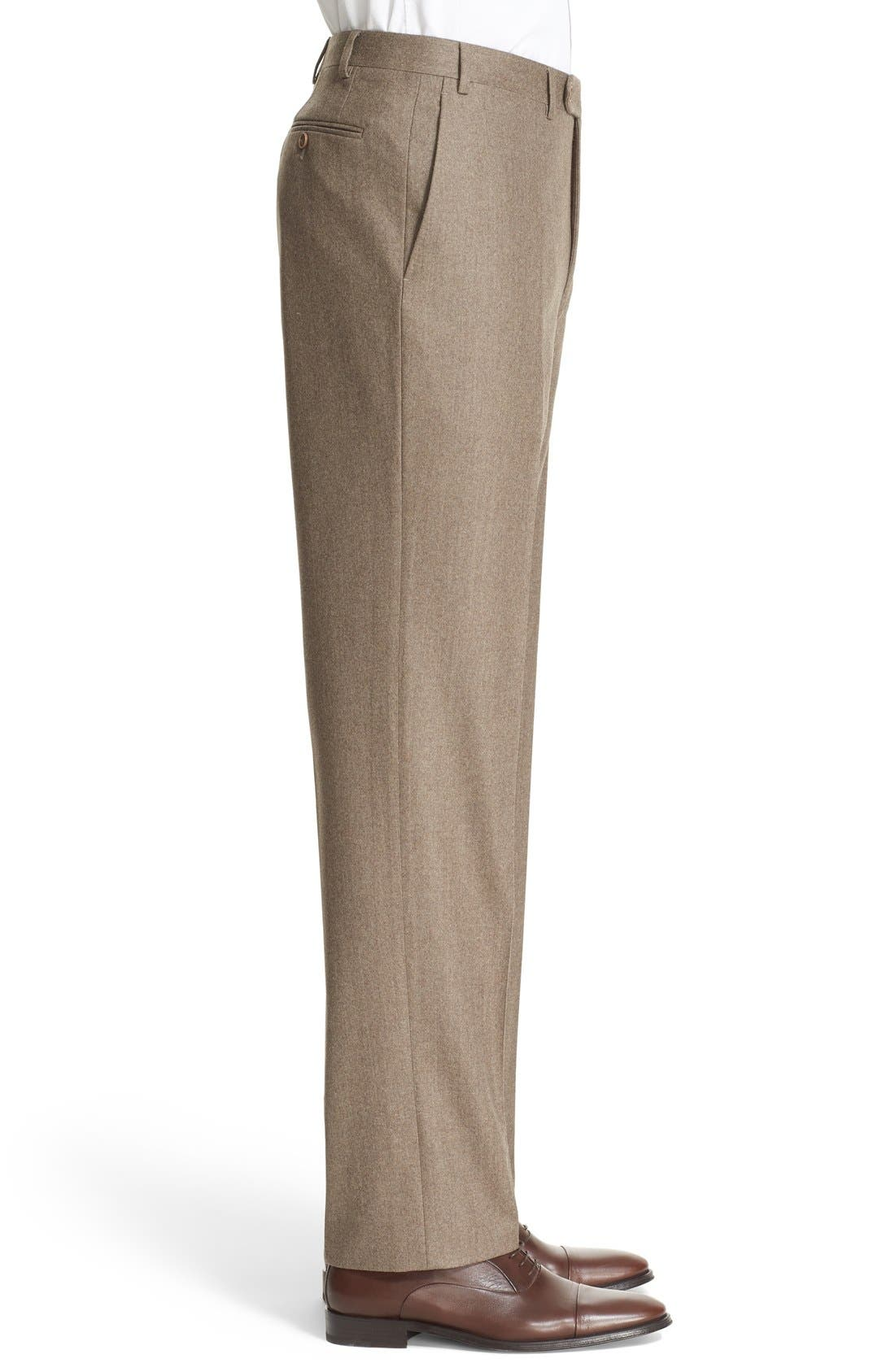 Flat Front Solid Wool Trousers,                             Alternate thumbnail 4, color,                             TAN