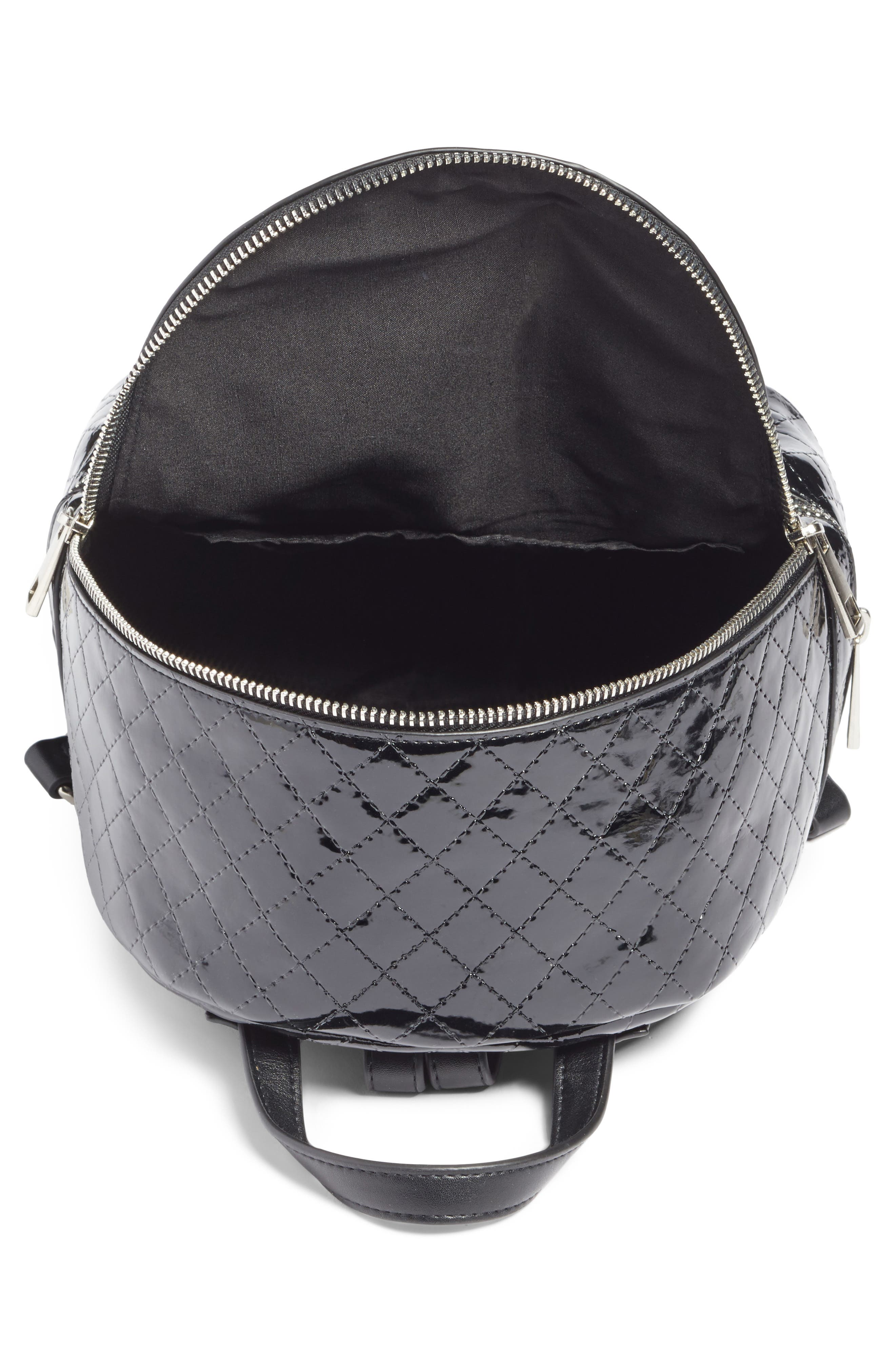 Quilted Faux Patent Backpack,                             Alternate thumbnail 4, color,                             001