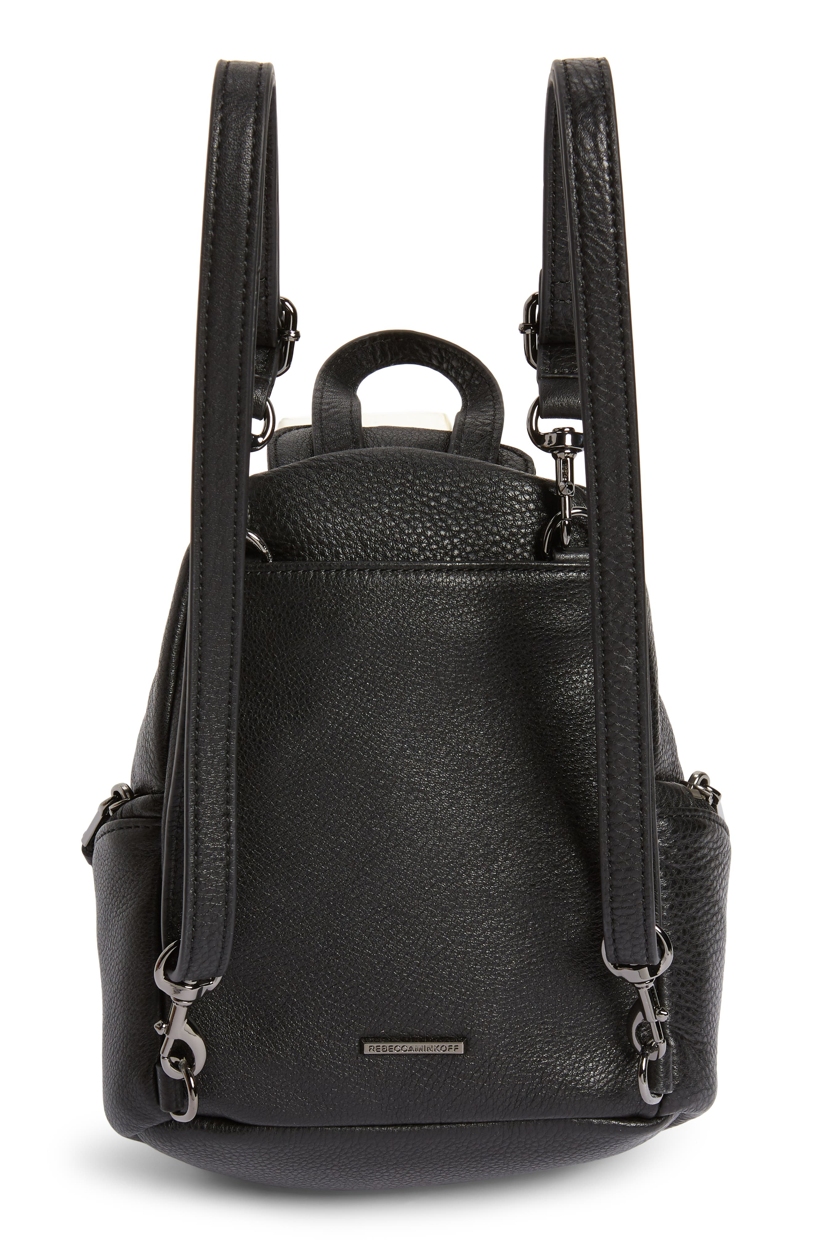 Mini Julian Pebbled Leather Convertible Backpack,                             Alternate thumbnail 4, color,                             BLACK